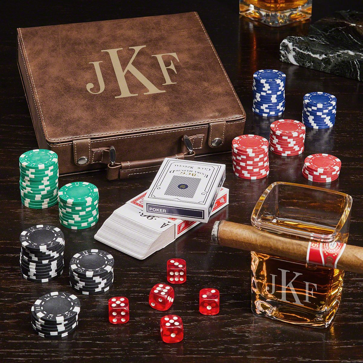 Classic Monogram Personalized Poker Chip Case Gift Set with Cigar Glass