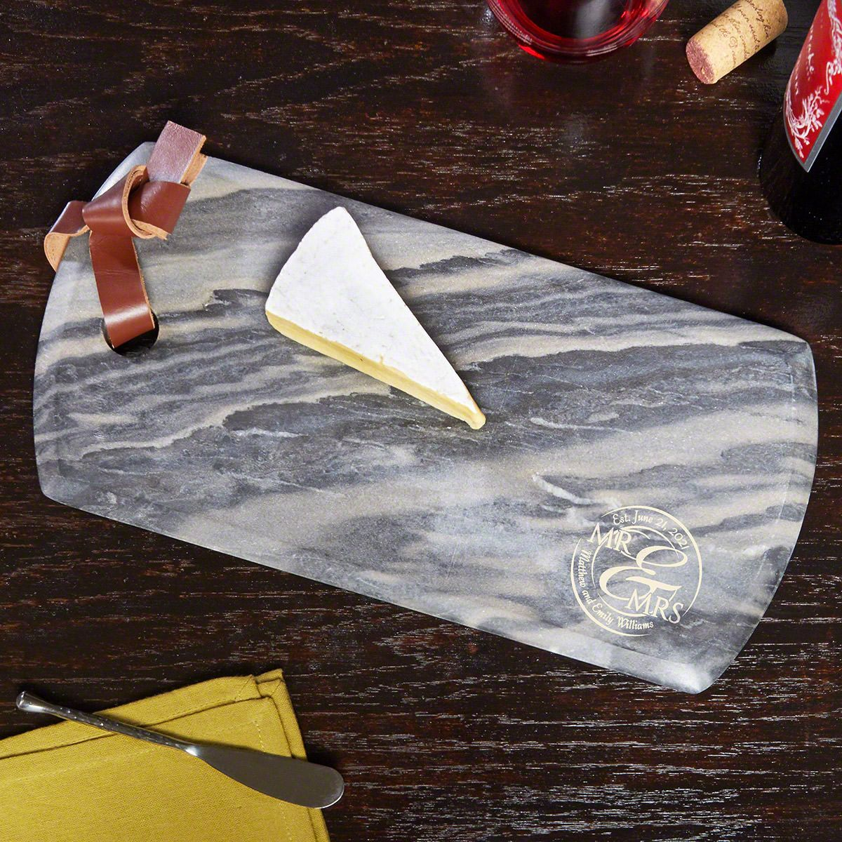 When Love Comes Together Genuine Marble Personalized Cheese Board