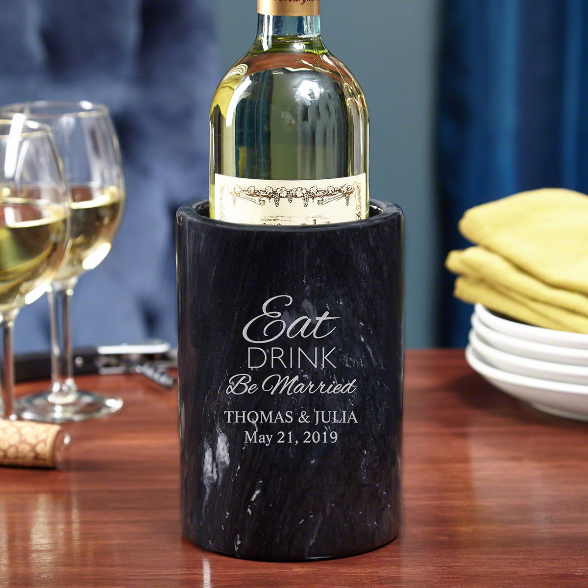Eat Drink Be Married Personalized Marble Wine Chiller