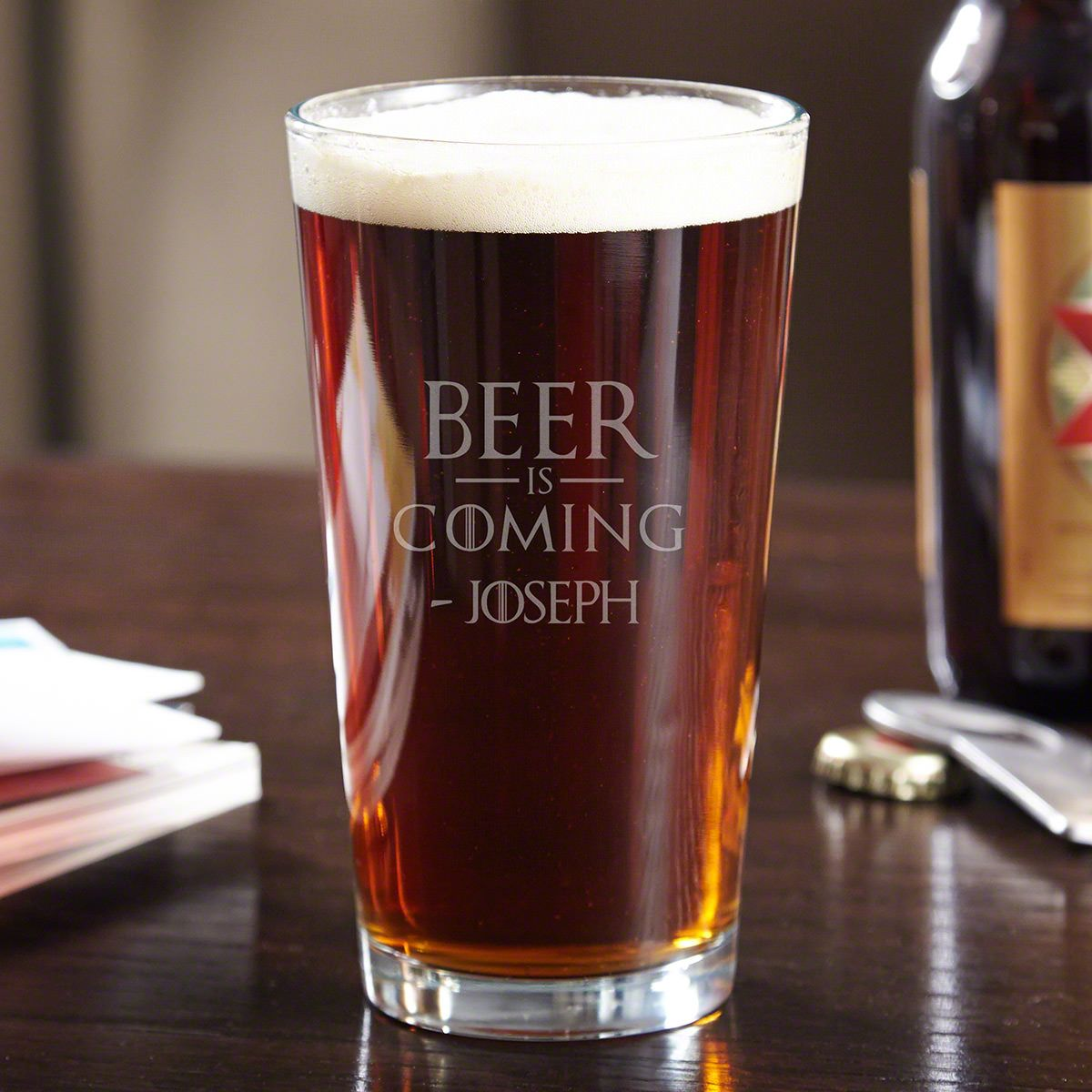 Beer is Coming Engraved Pint Glass