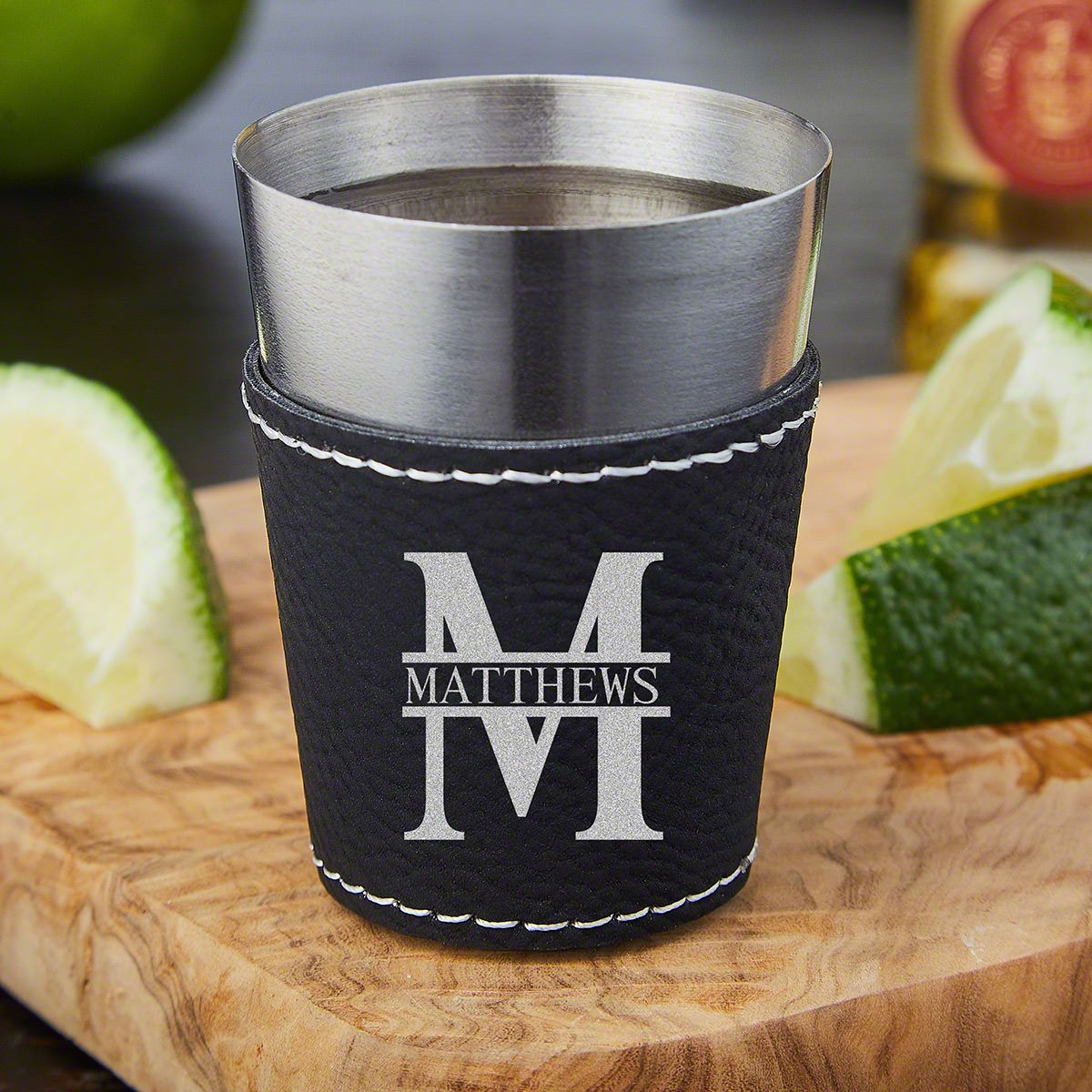Oakmont Personalized Leatherette Wrapped Stainless Steel Shot Glass