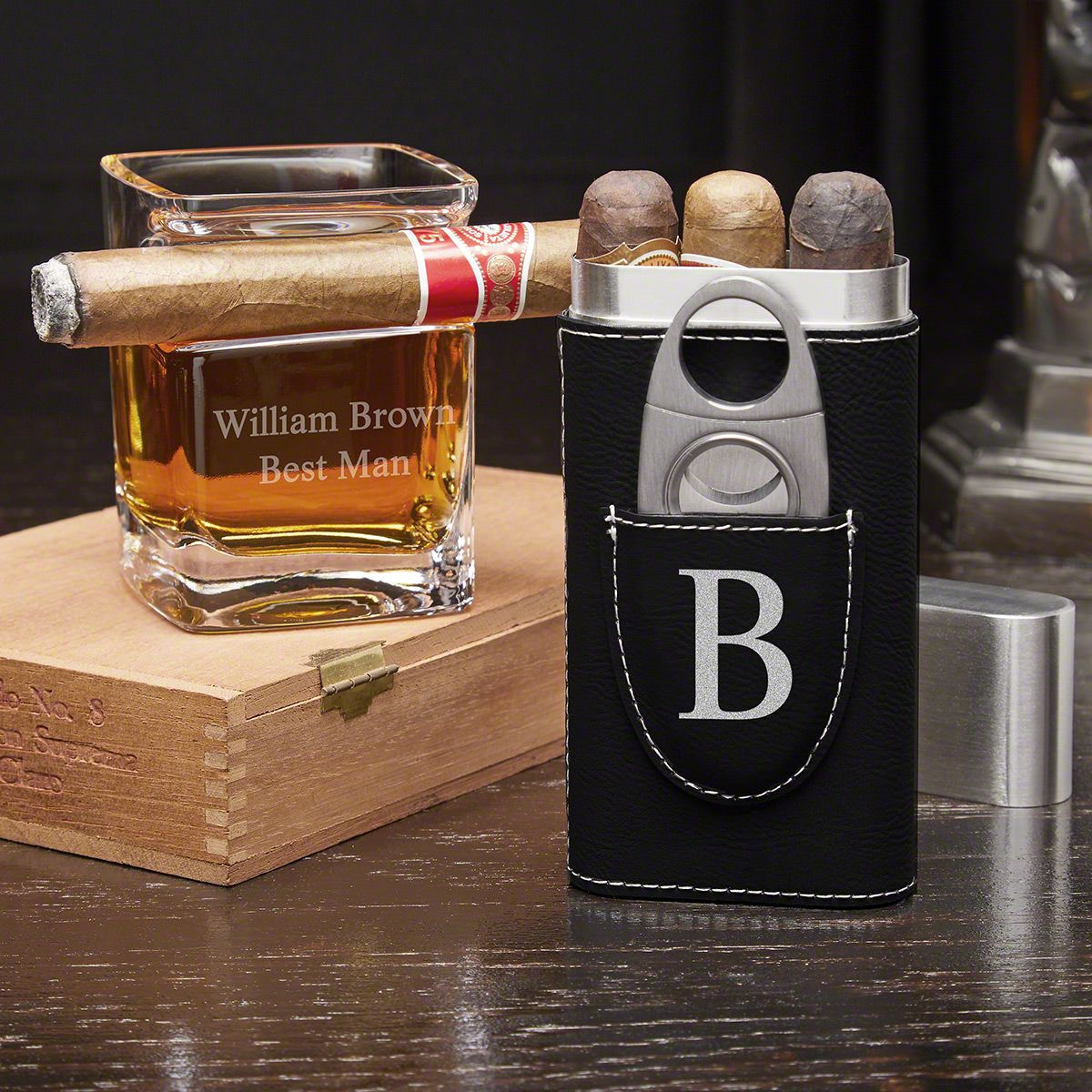 Personalized Cigar Holder & Whiskey Cigar Glass