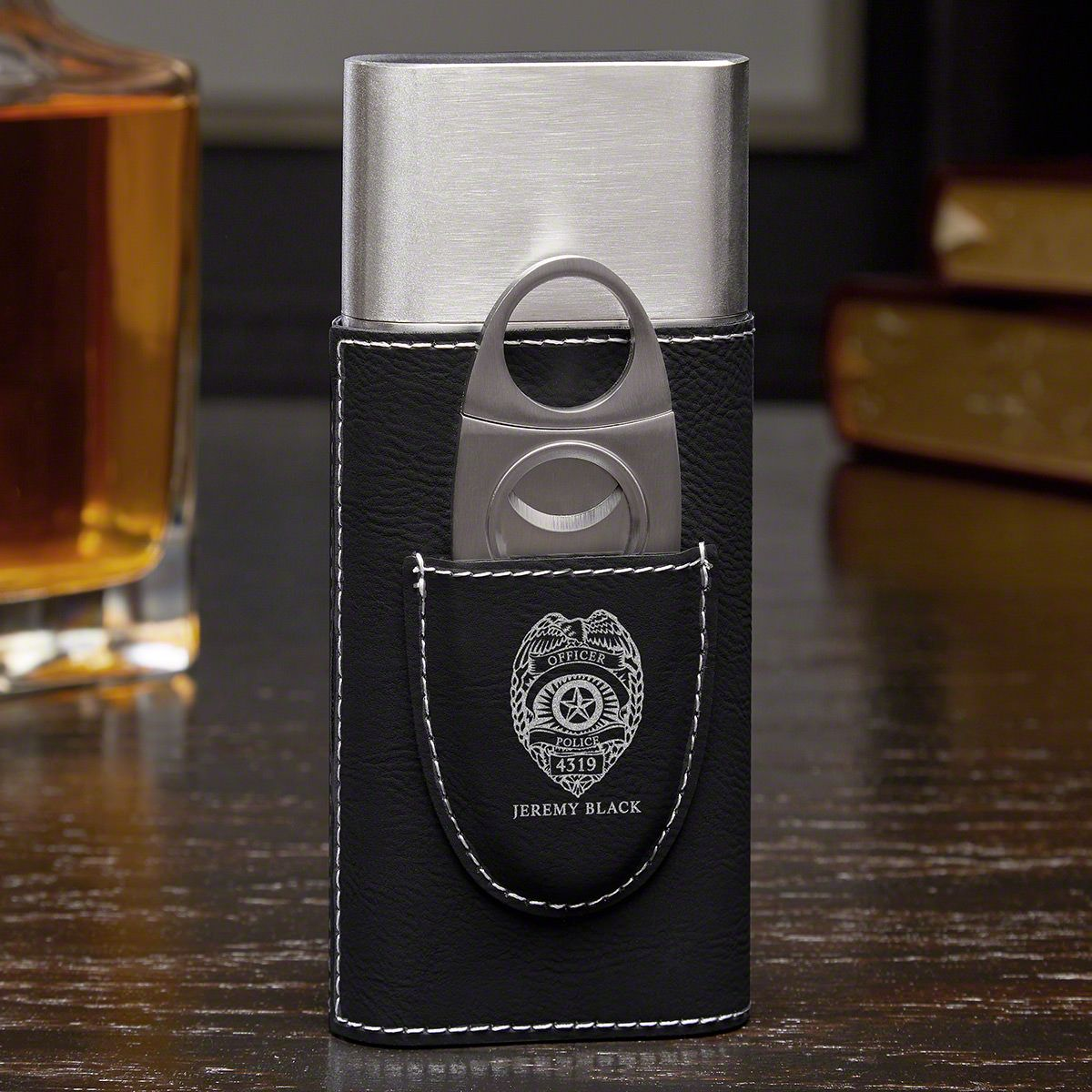 Police Badge Personalized Cigar Case - Cop Gift