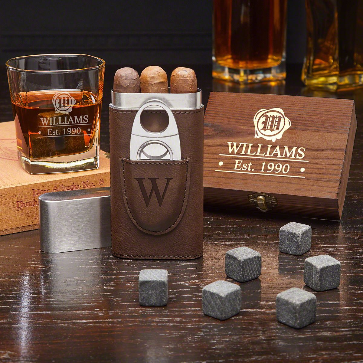Suave Spirit Wax Seal Personalized Whiskey Gift Set with Cigar Case