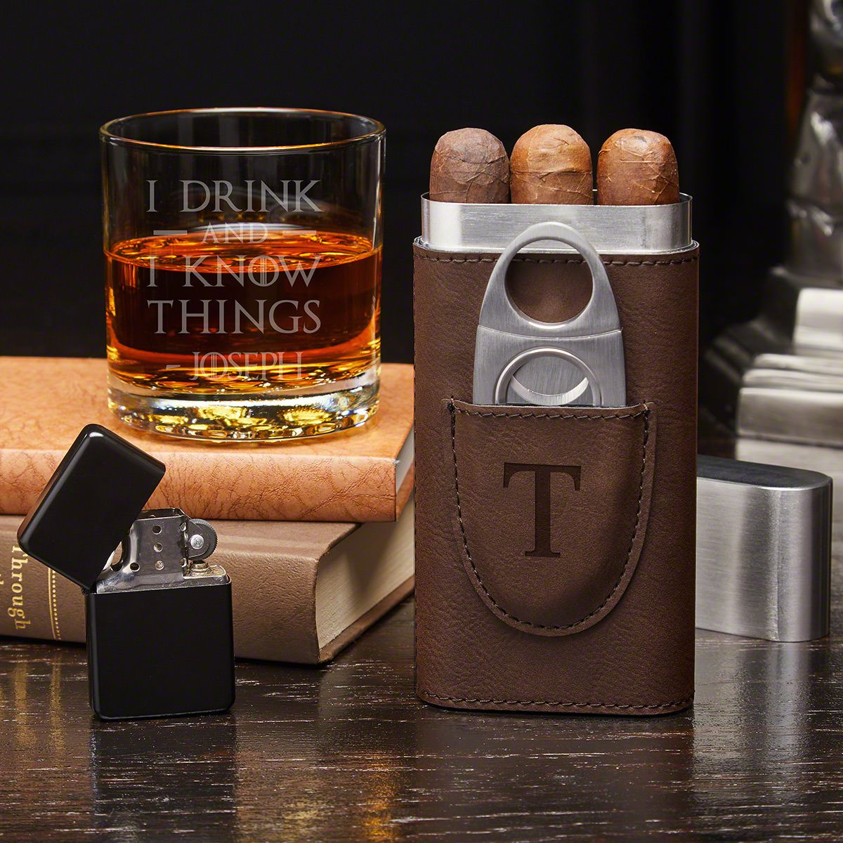 Personalized Black or Brown Gift Box Flask /& Cigar Holder /& Cutter Gift Set
