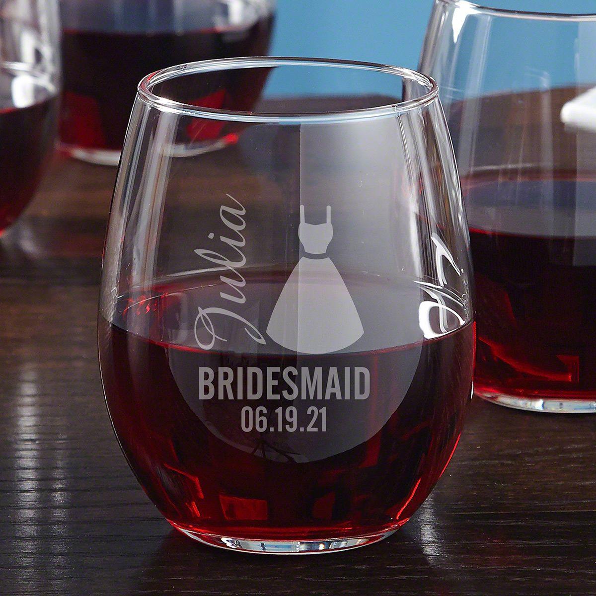 Bride Tribe Custom Bridesmaid Wine Glass