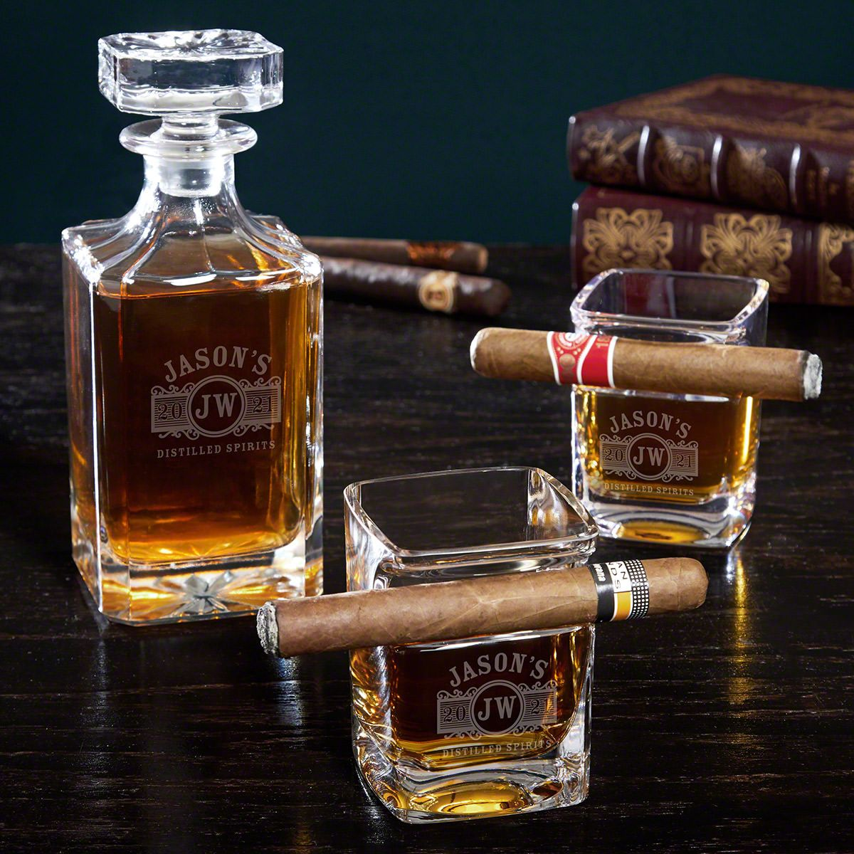 Marquee Engraved Crystal Decanter Set with Cigar Glasses