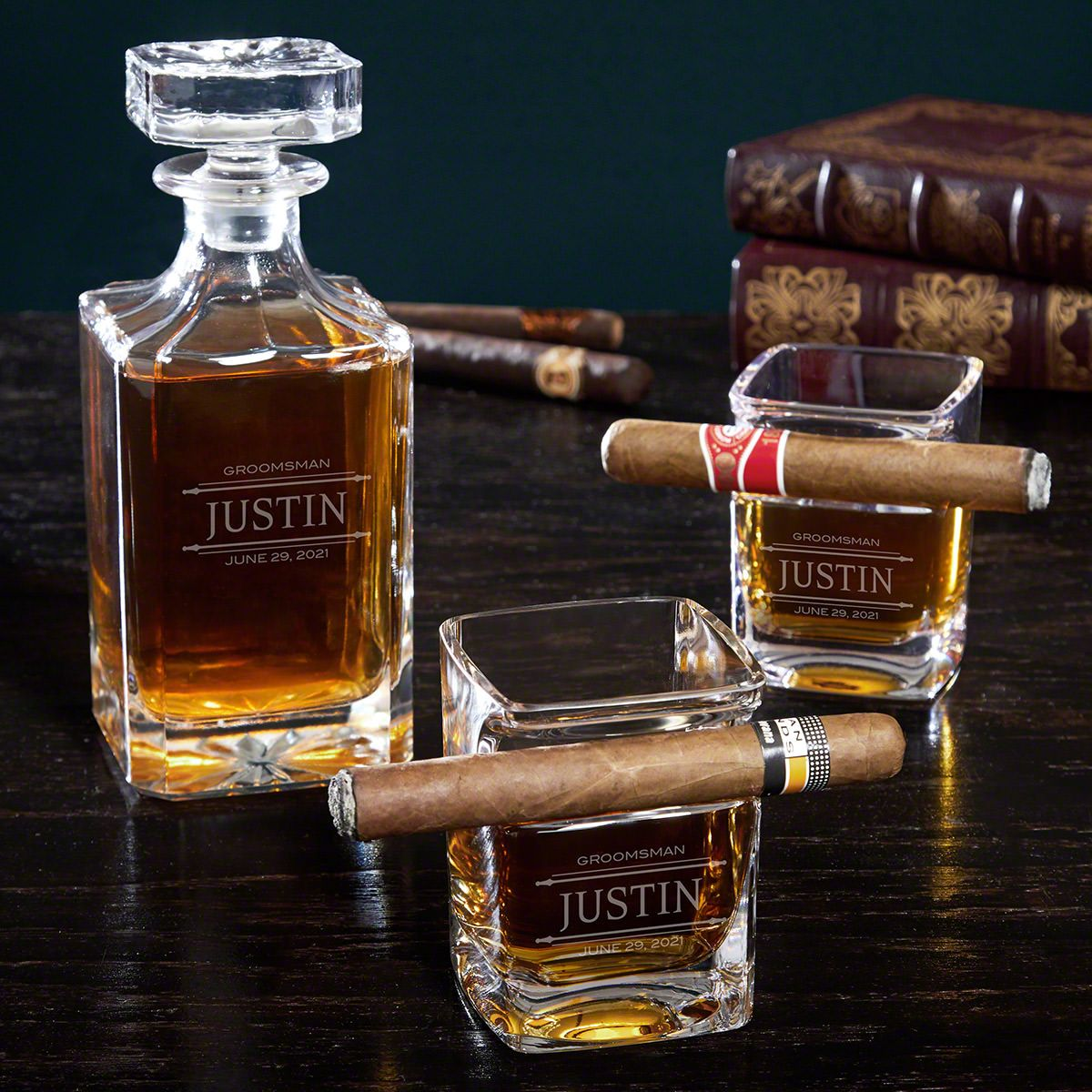 Stanford Engraved Decanter Set with Cigar Glasses