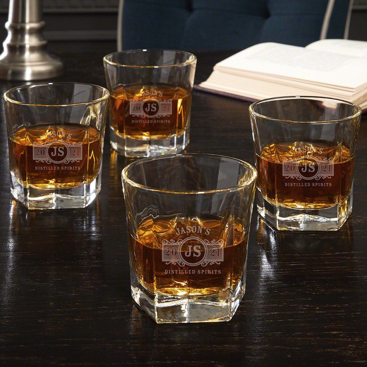 Marquee Engraved Set of Four Colchester Whiskey Glasses