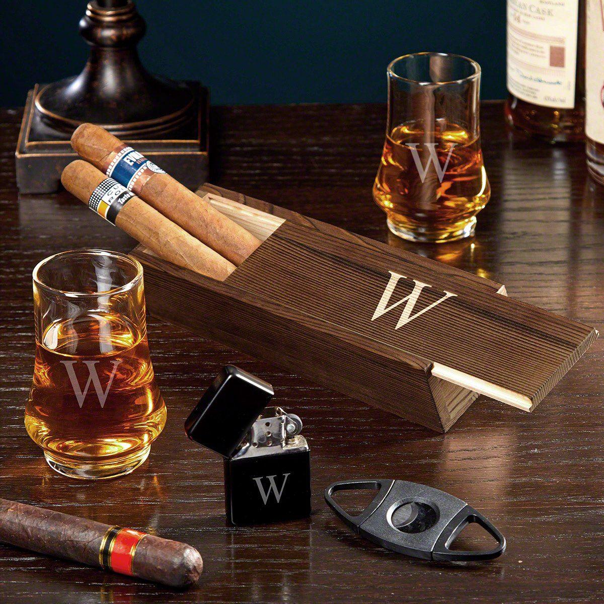 Single Initial Duke Whiskey Taster Glass Cigar Gift Set