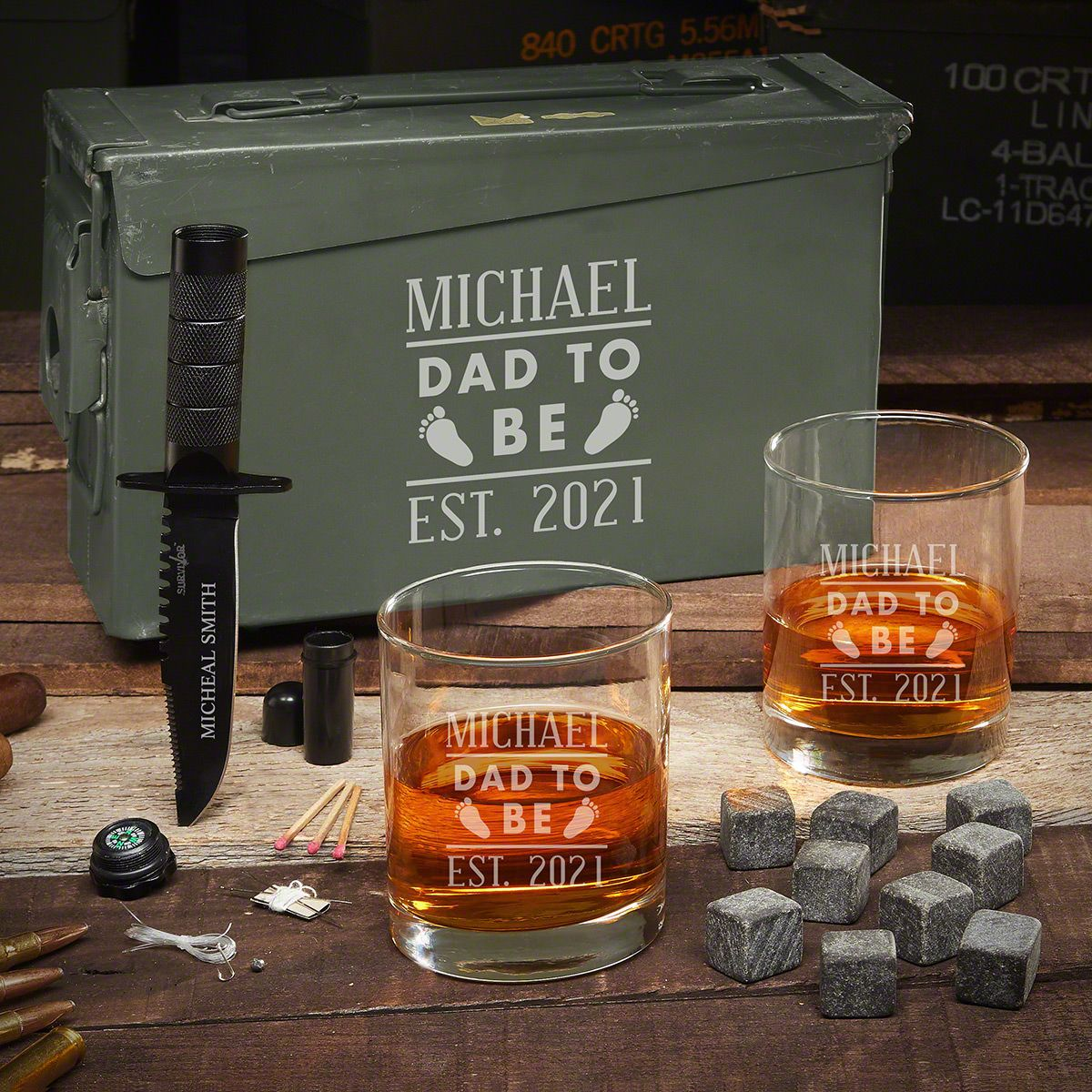 Dad to Be 30 Cal Ammo Can Set - Gifts for New Dads