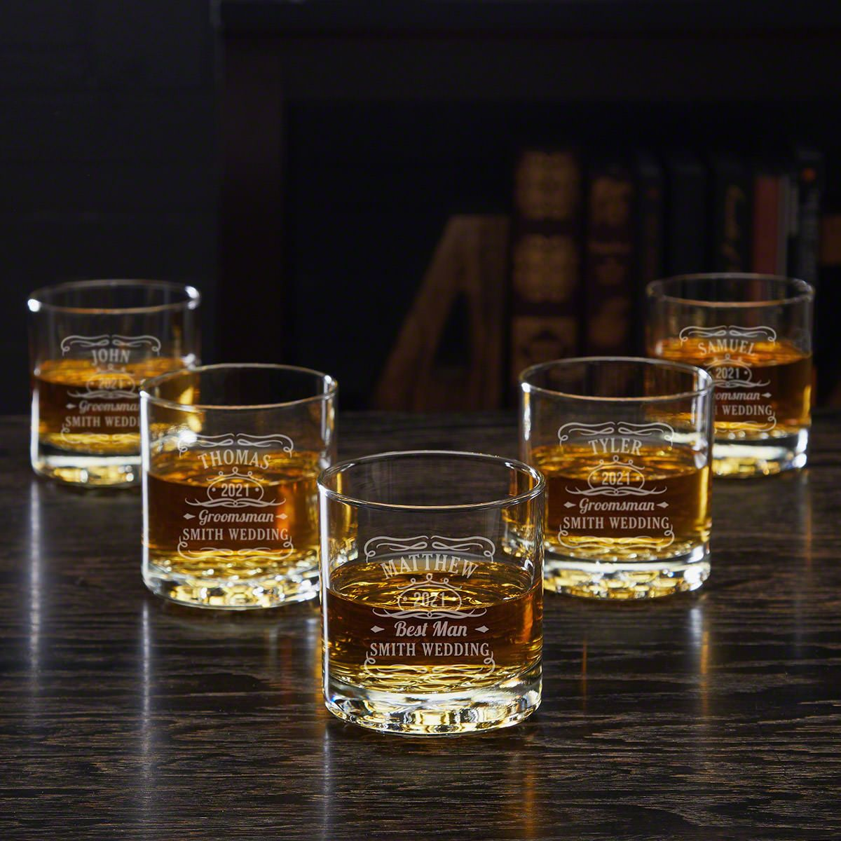 Engraved Set of Five Whiskey Glasses