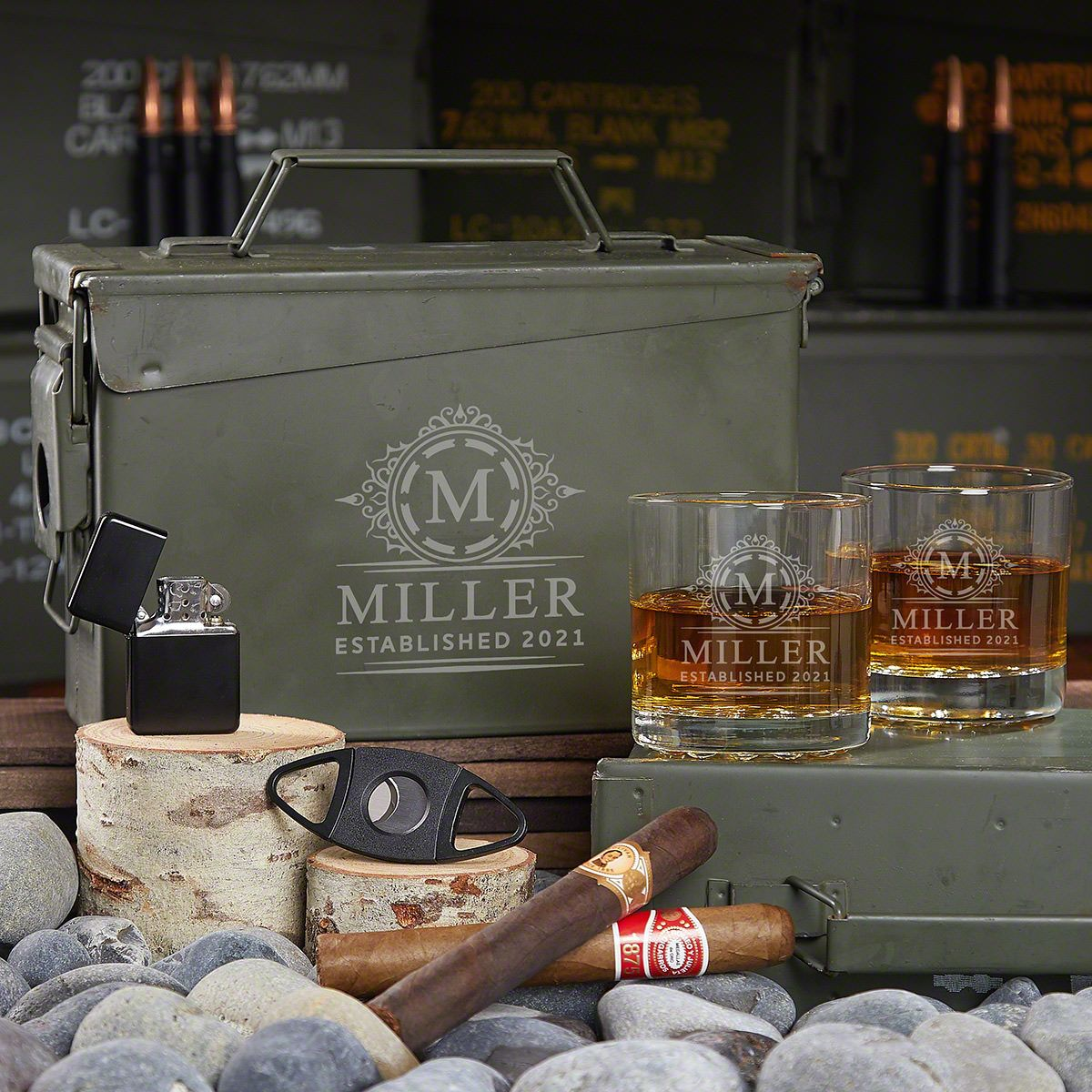 All the Vices Hamilton Custom 30 Cal Ammo Box Whiskey Gift Set