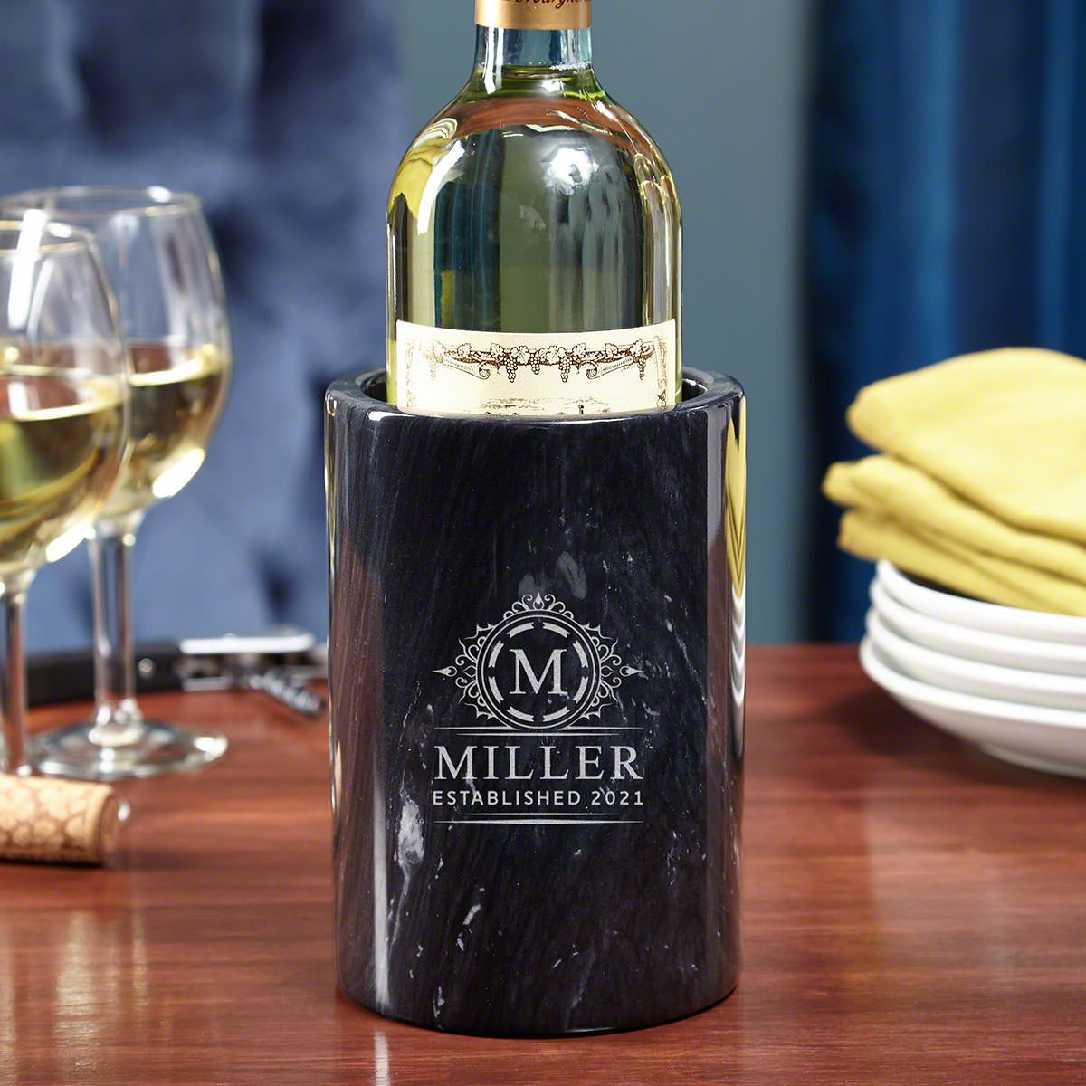 Hamilton Customized Black Marble Wine Chiller
