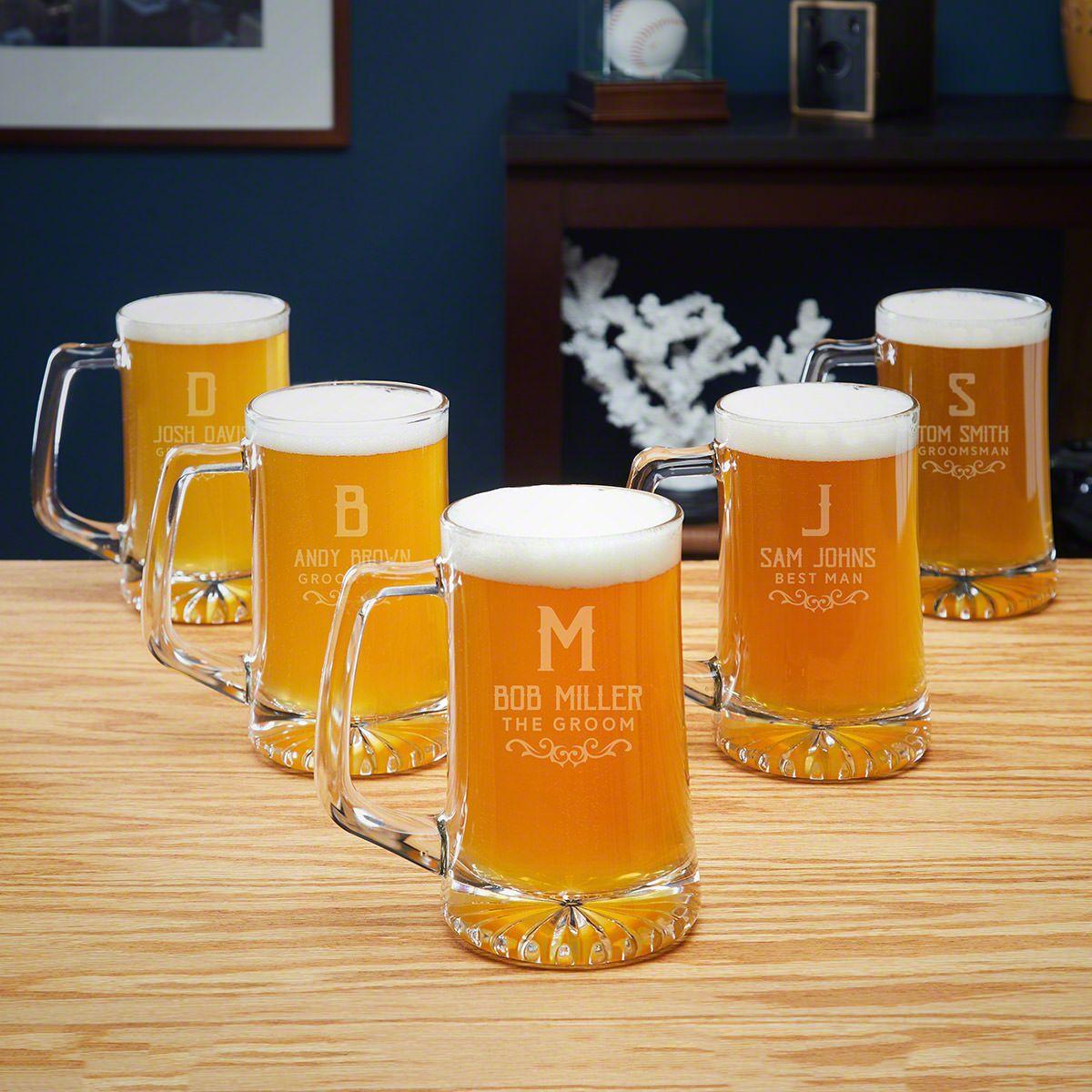 Warwick Set of 5 Custom Beer Mugs Groomsmen Gifts