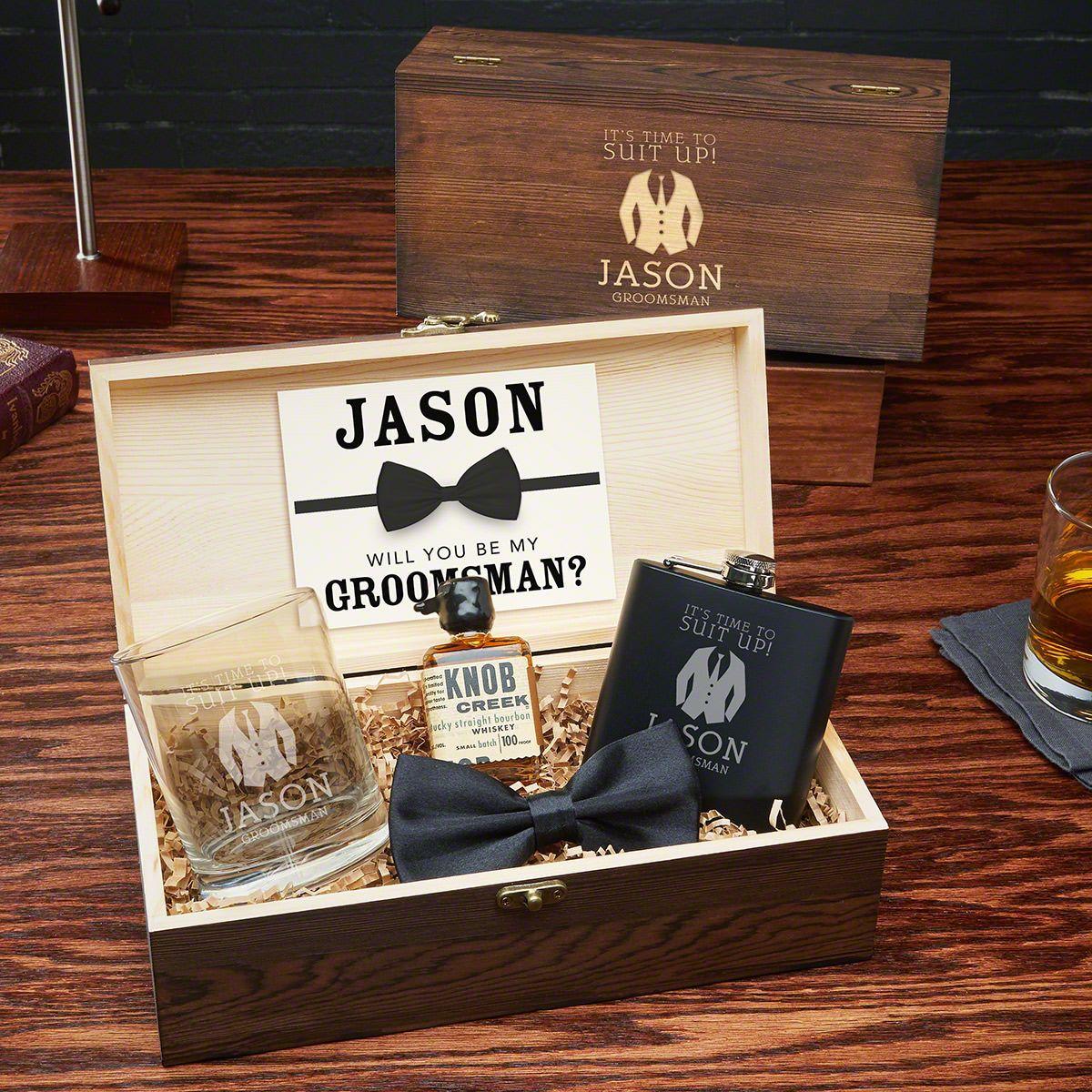 Suit Up Whiskey Custom Groomsman Gift Set