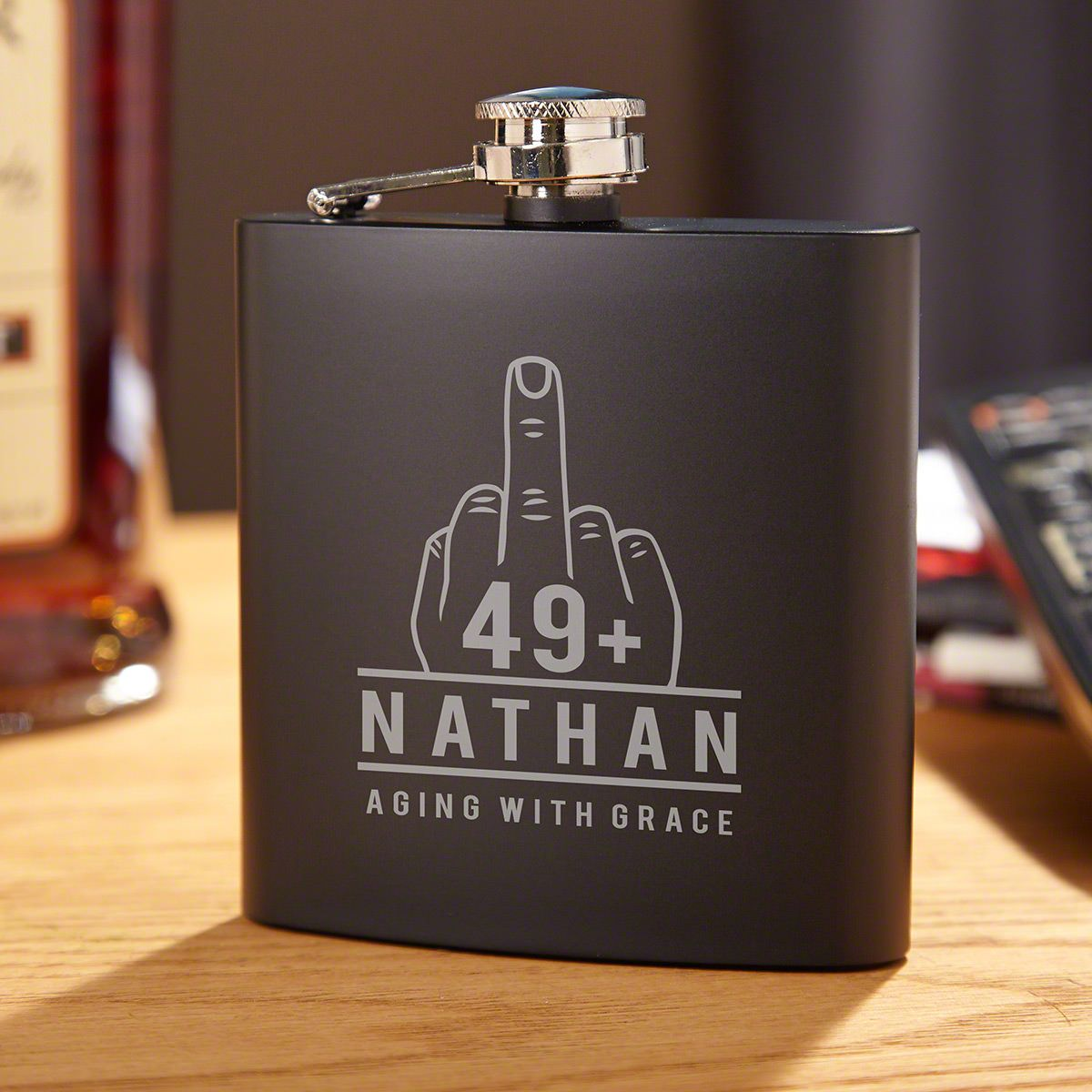 Aging with Grace Engraved Blackout Flask Old Man Birthday Gift