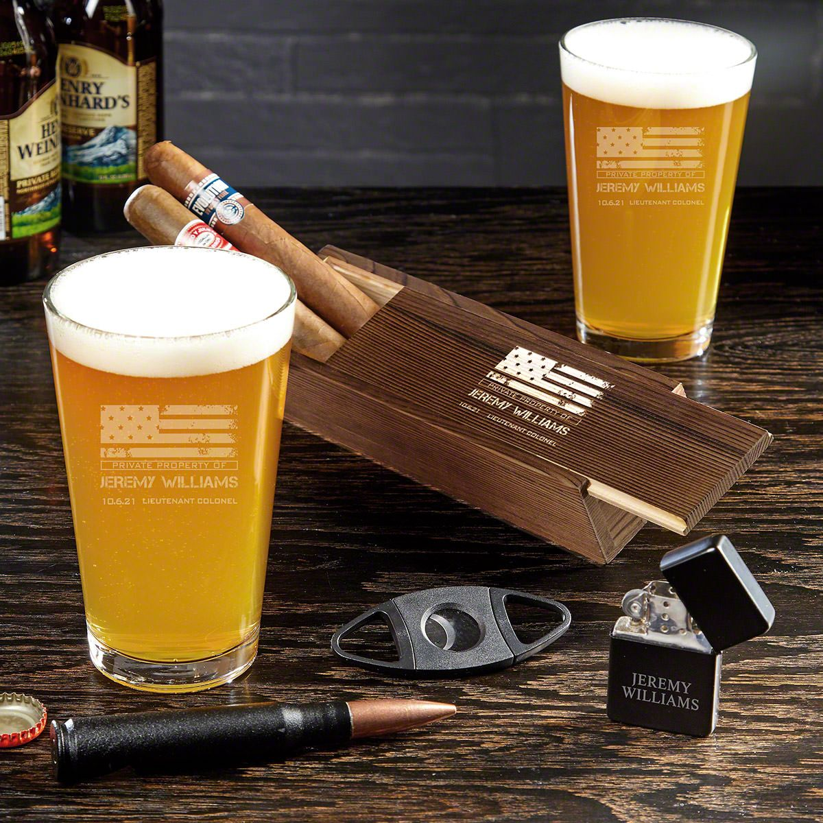 American Heroes Engraved Cigar and Beer Military Gifts