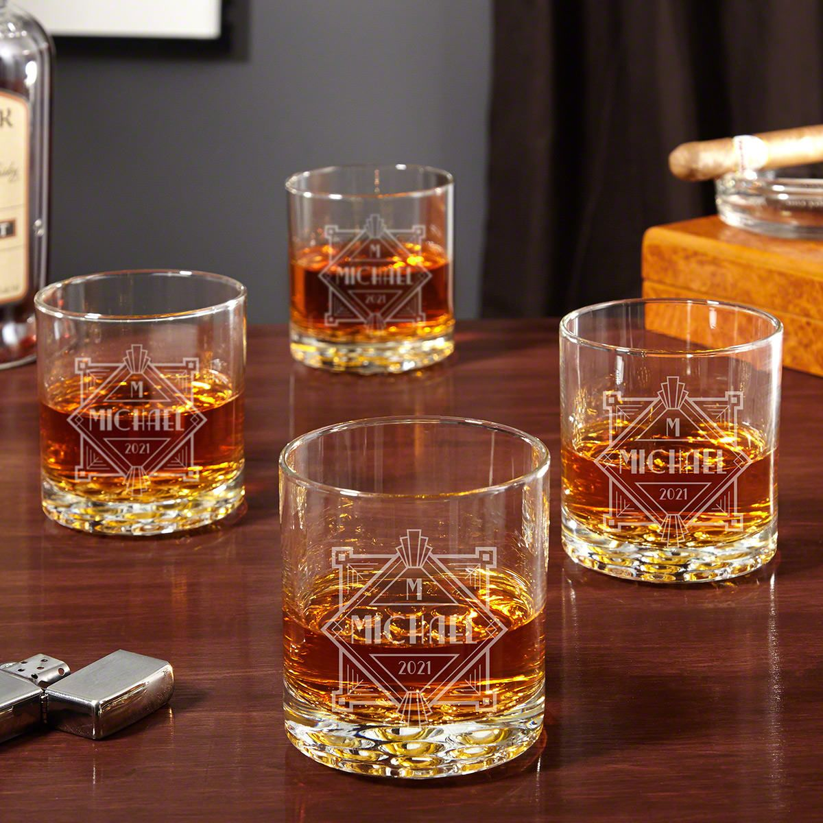 Speakeasy Engraved Buckman Whiskey Glasses Set of 4