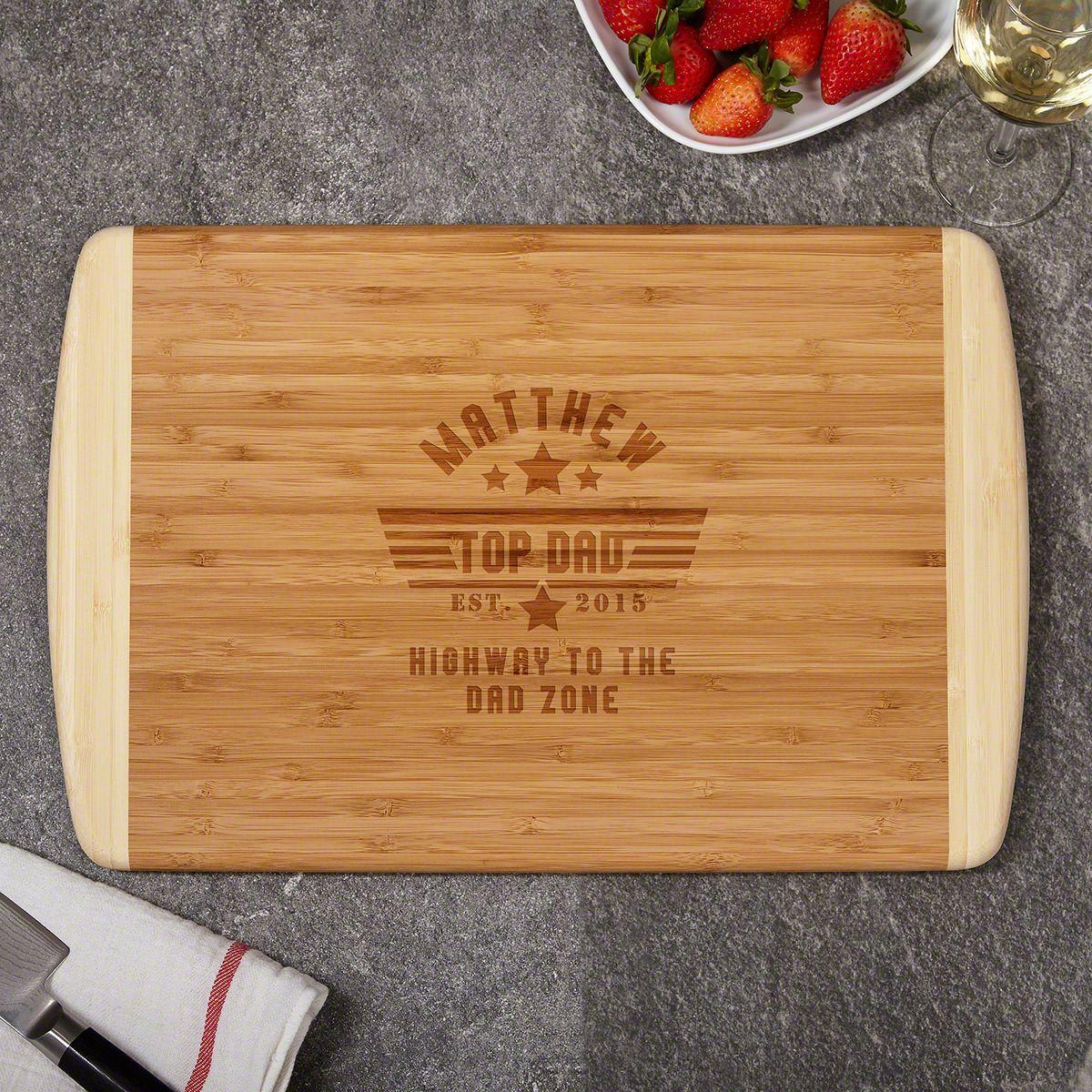 Top Dad Custom Natural Bamboo Cutting Board Dad Gift