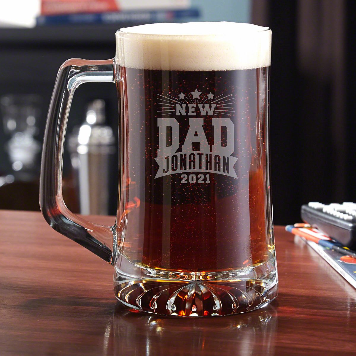 Rockstar New Dad Engraved Beer Mug - Gift for New Dad