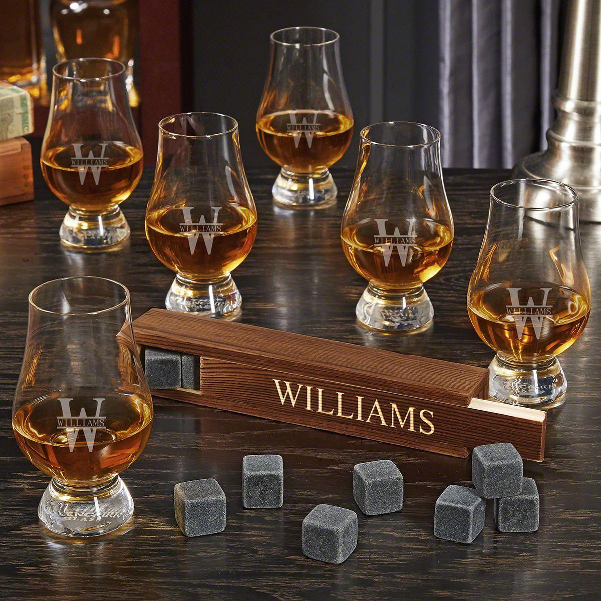 Oakmont Engraved Whiskey Stone Set with 6 Glencairn Whiskey Tasting Glasses
