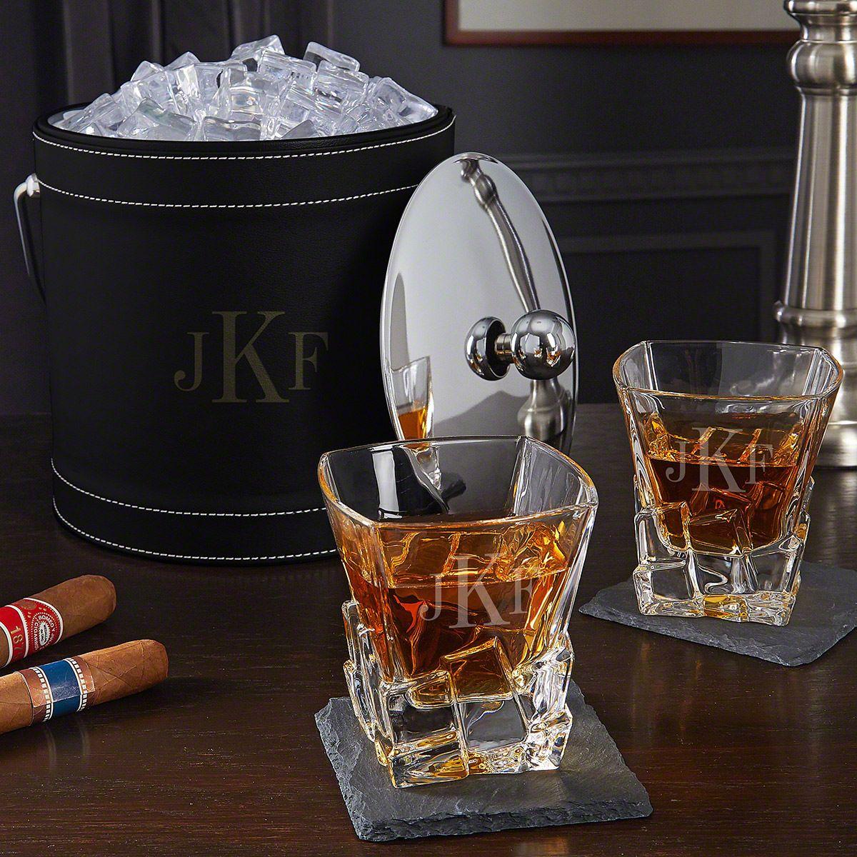 Classic Monogram Custom Ice Bucket Whiskey Gift Set