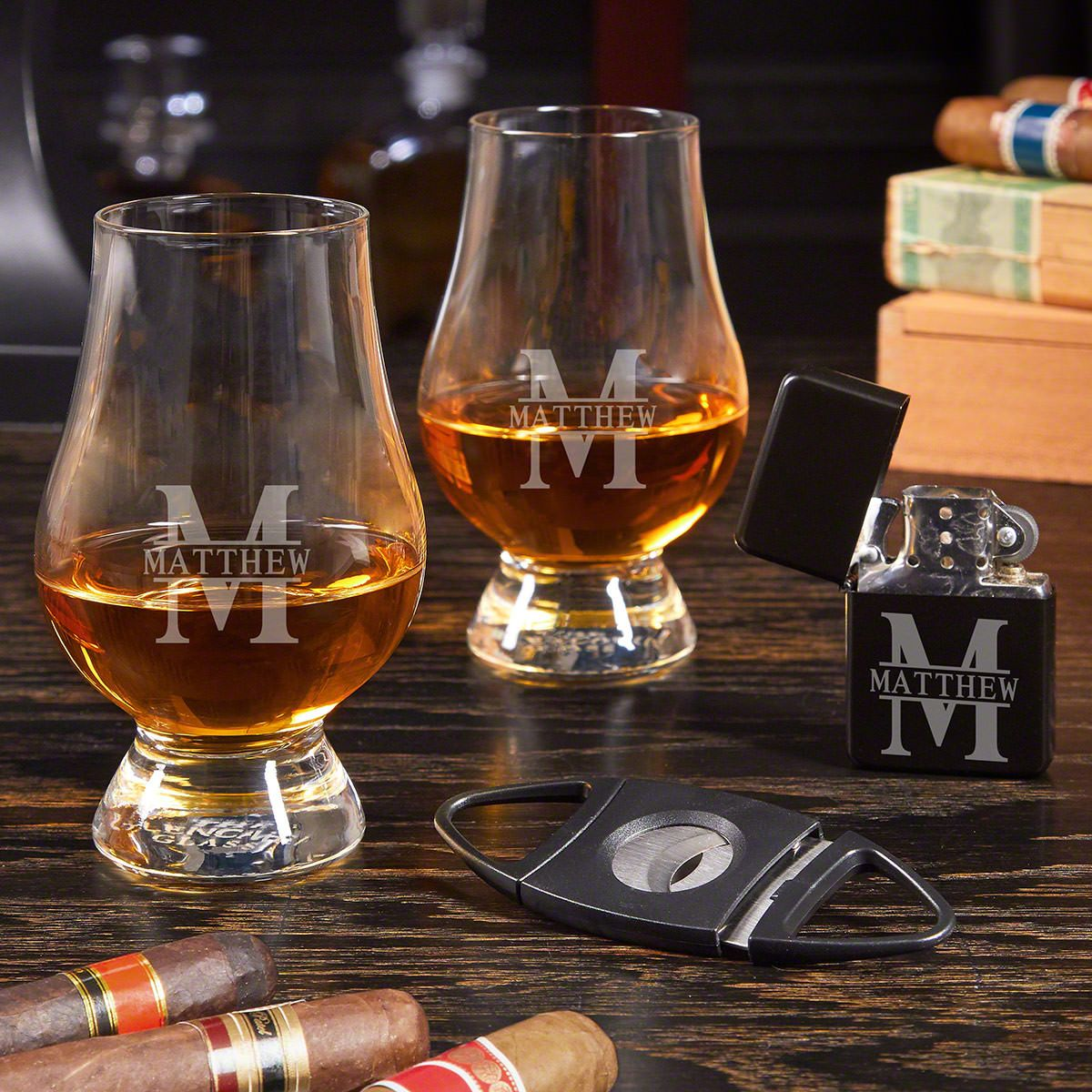 Oakmont Engraved Cigar Gift Set with Glencairn Glasses