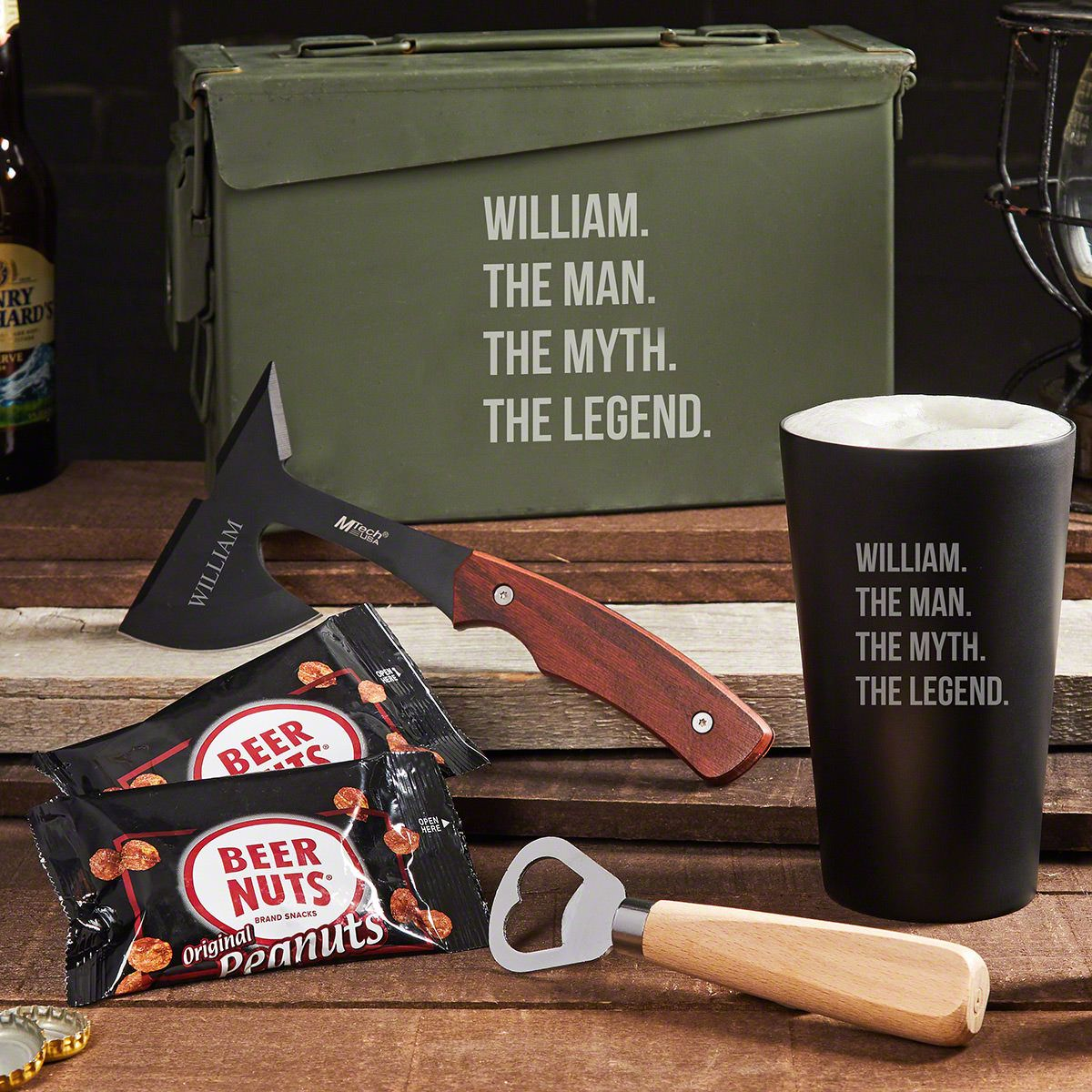 Unbreakable Man Myth Legend Personalized 30 Cal Beer Gifts