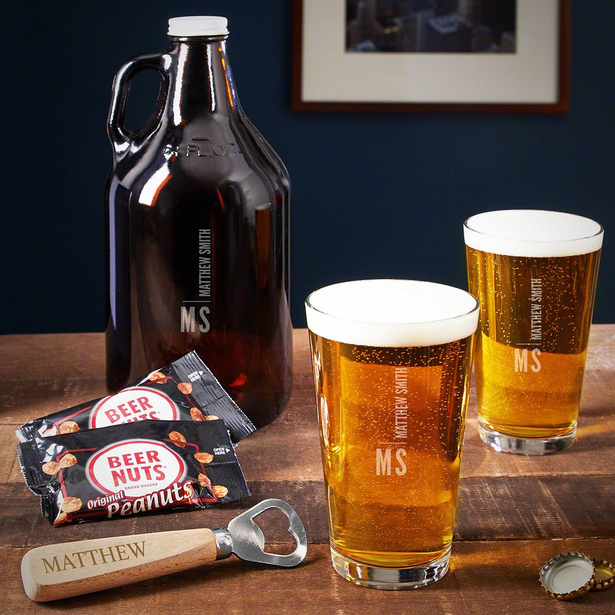 Calvin Engraved Set of Beer Gifts
