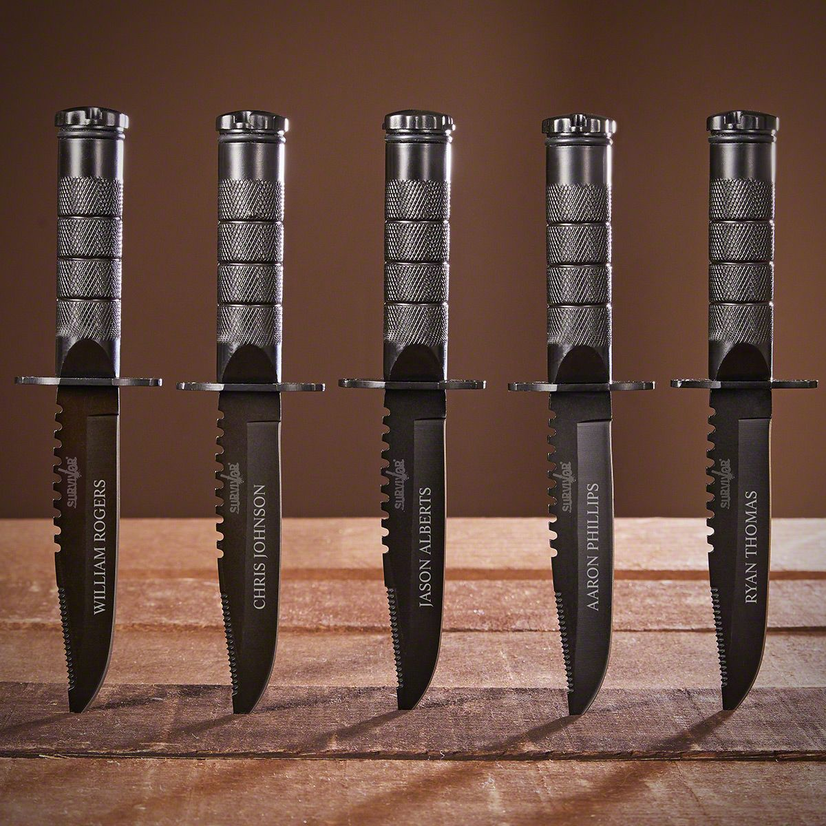 Personalized Set of 5 Survival Groomsmen Knives