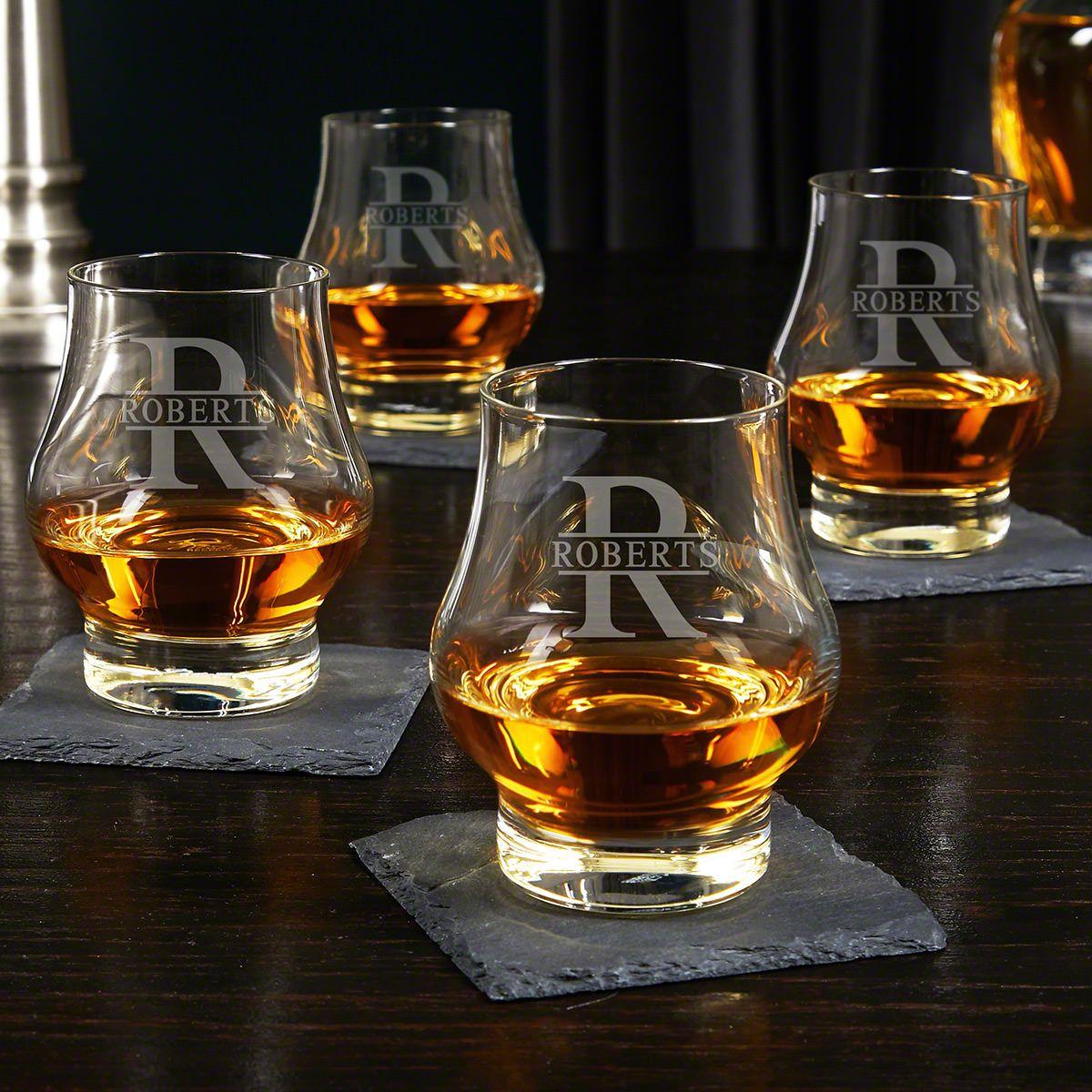 Oakmont Engraved Wescott Double Snifters Whiskey Taster Glasses Set of 4