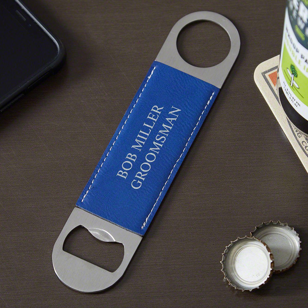 Engraved Blue Leather Bottle Opener