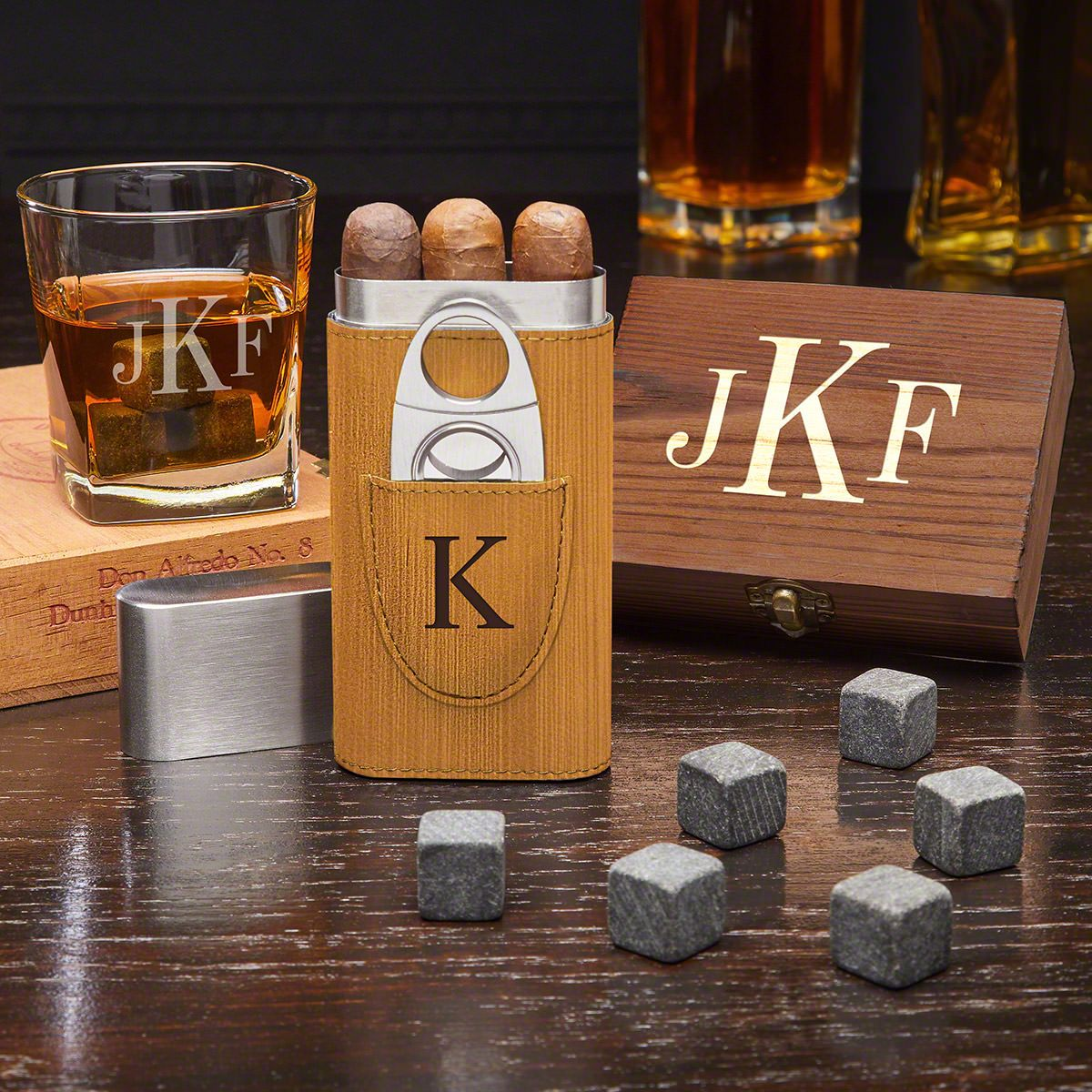 Classic Monogram Engraved Gifts for Cigar Lovers with Whiskey Stones