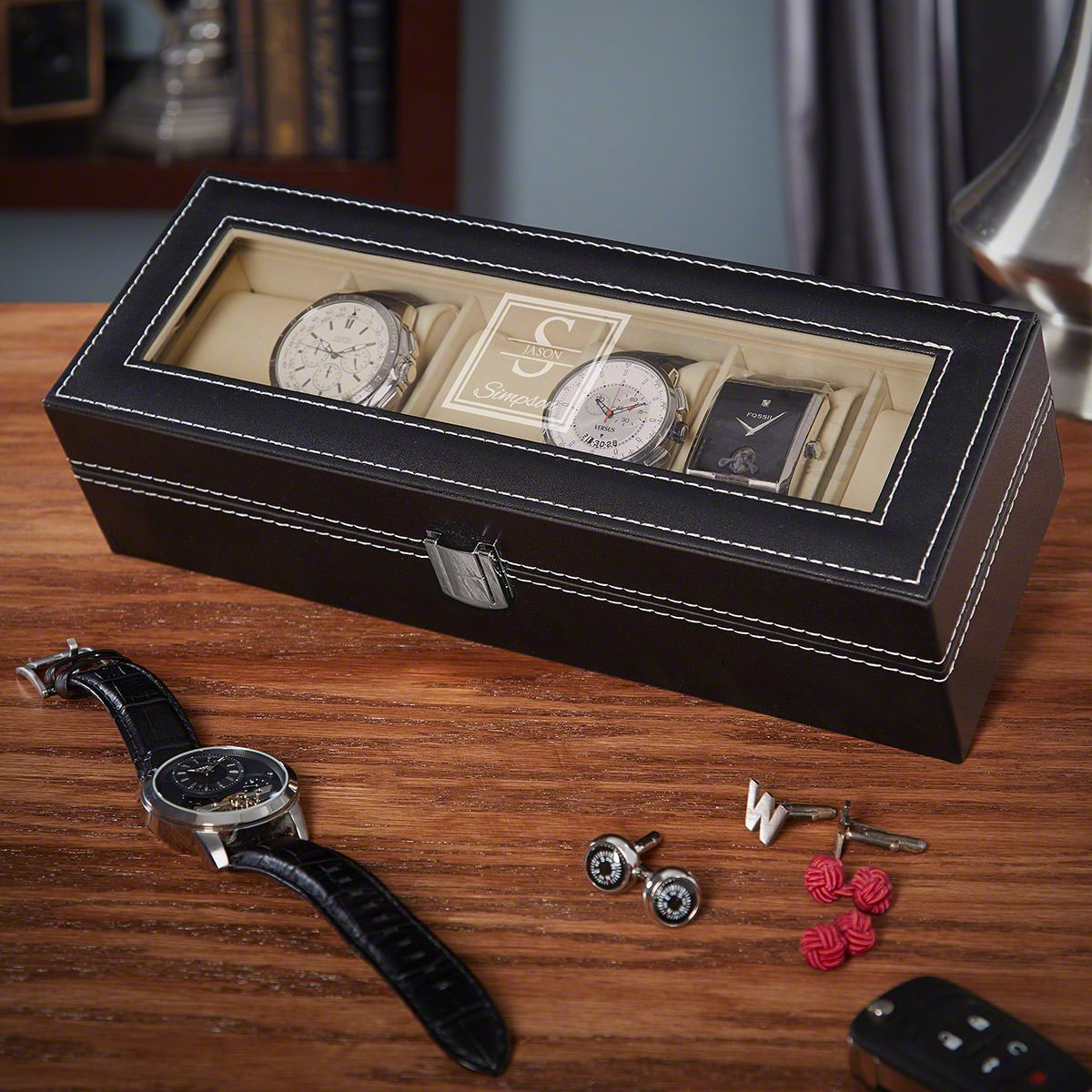 Oakhill Engraved Black Leather Watch Box