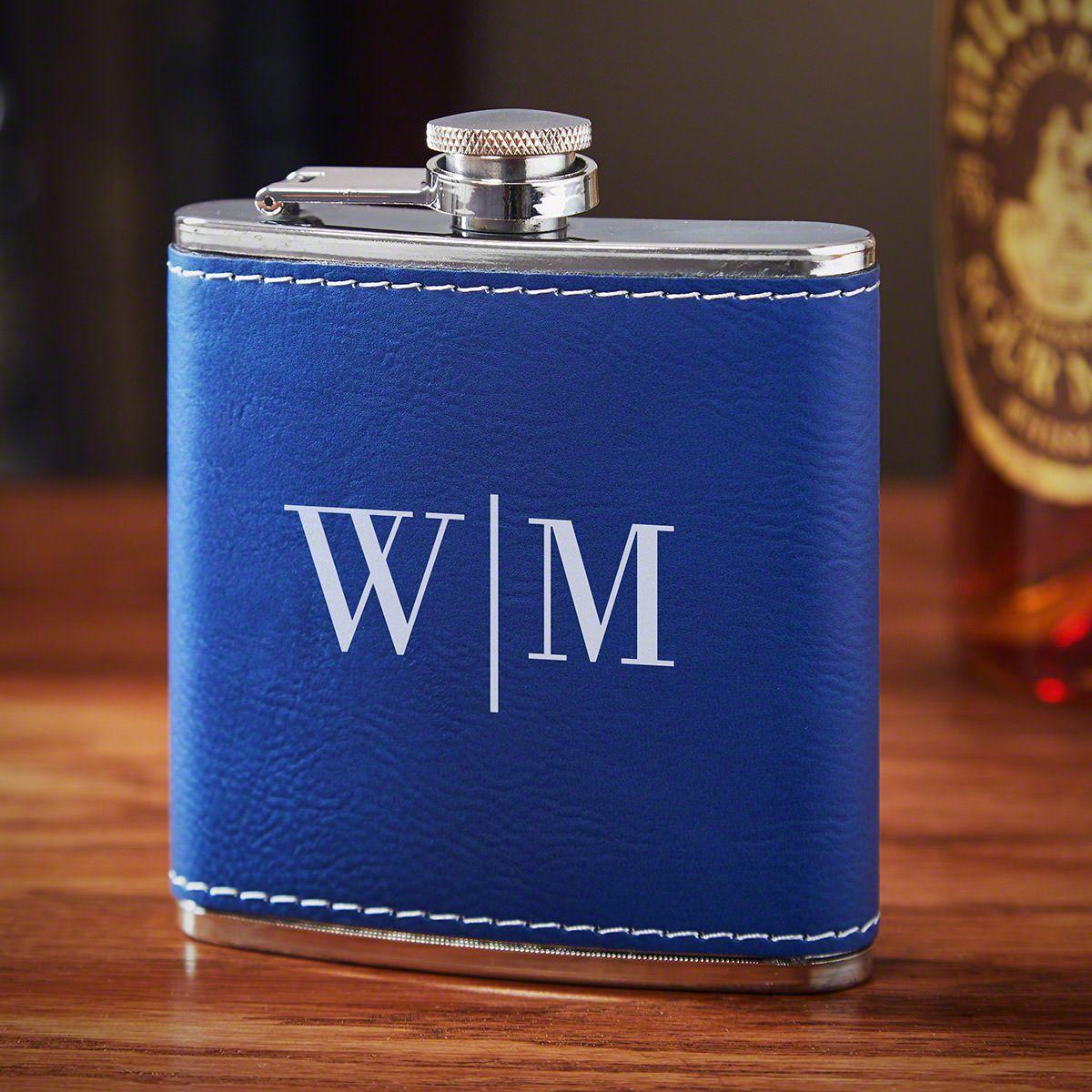 Quinton Blue Leather Custom Flask