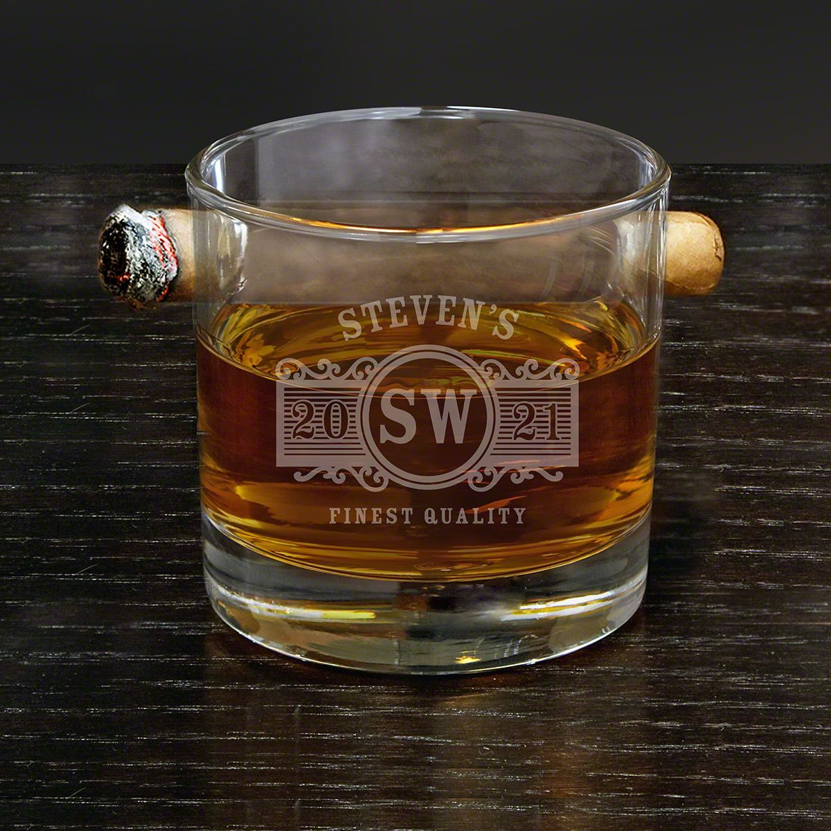 Marquee Personalized Round Cigar Whiskey Glass