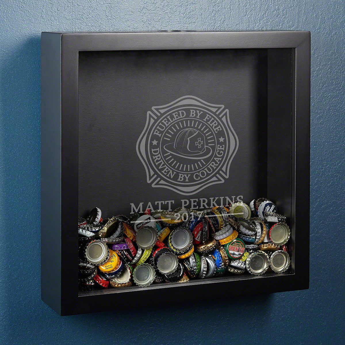 Fueled By Fire Custom Shadow Box Firefighter Gift
