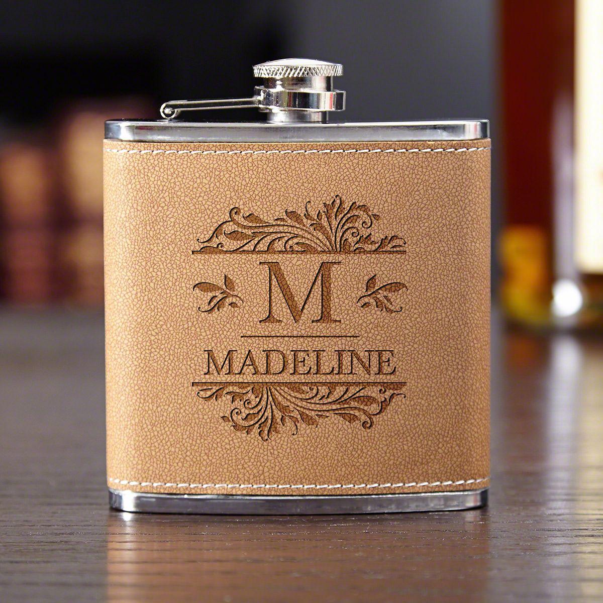 Savannah Leather Personalized Liquor Flask