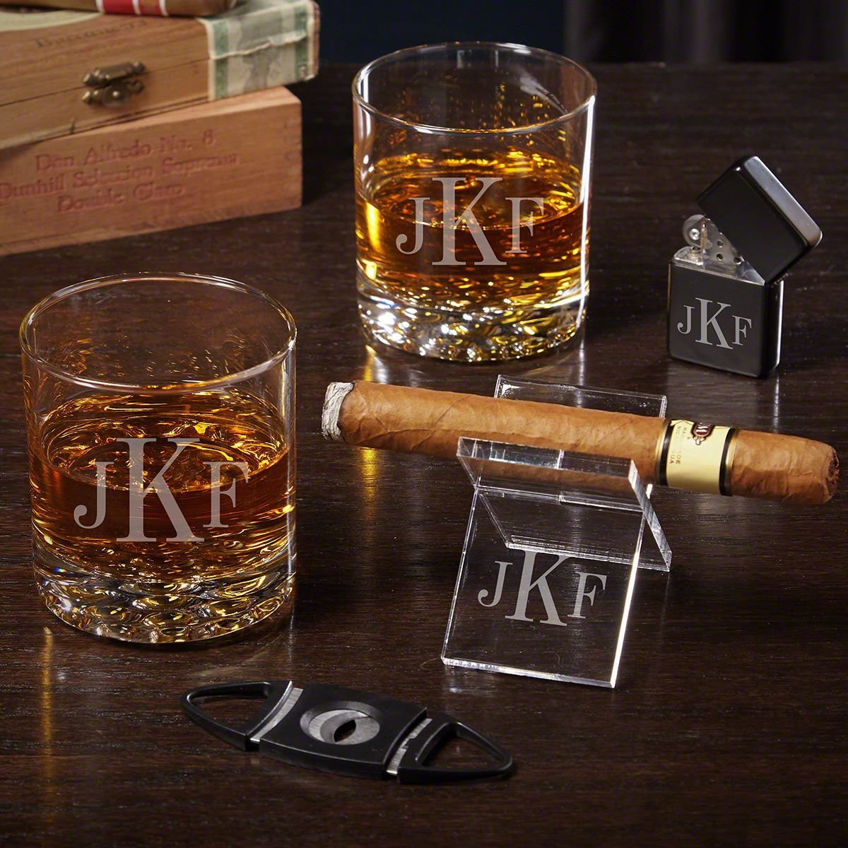 Classic Monogram Personalized Cigar Gift Set with Buckman Glasses