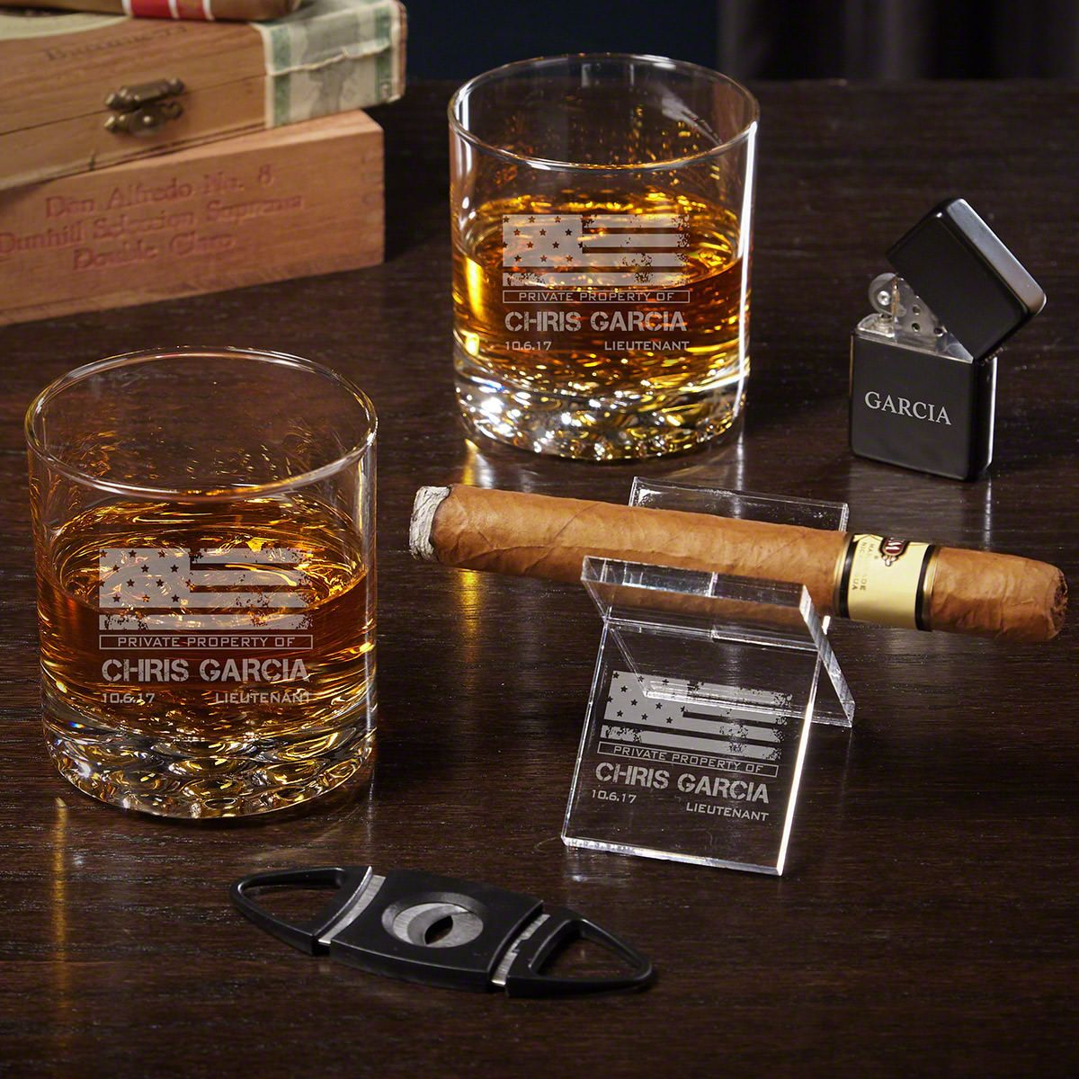 American Heroes Custom Whiskey and Cigar Military Gifts