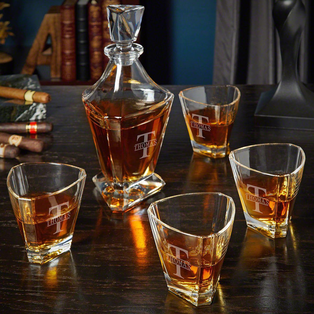 Oakmont Engraved Bishop Whiskey Decanter Set