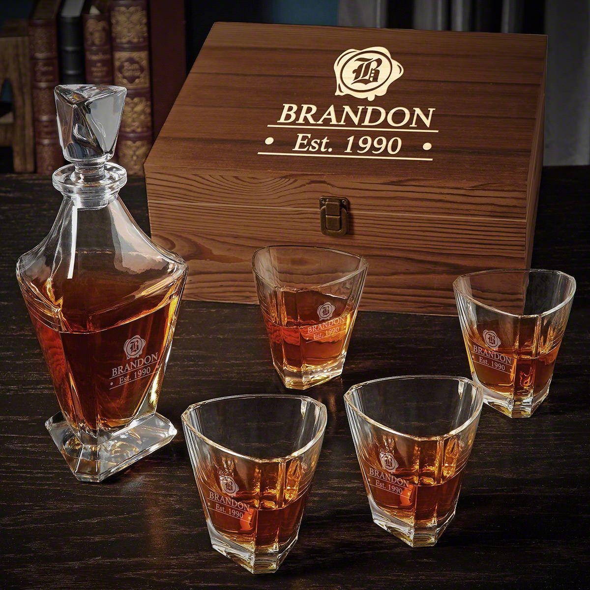 Wax Seal Engraved Bishop Whiskey Decanter Set