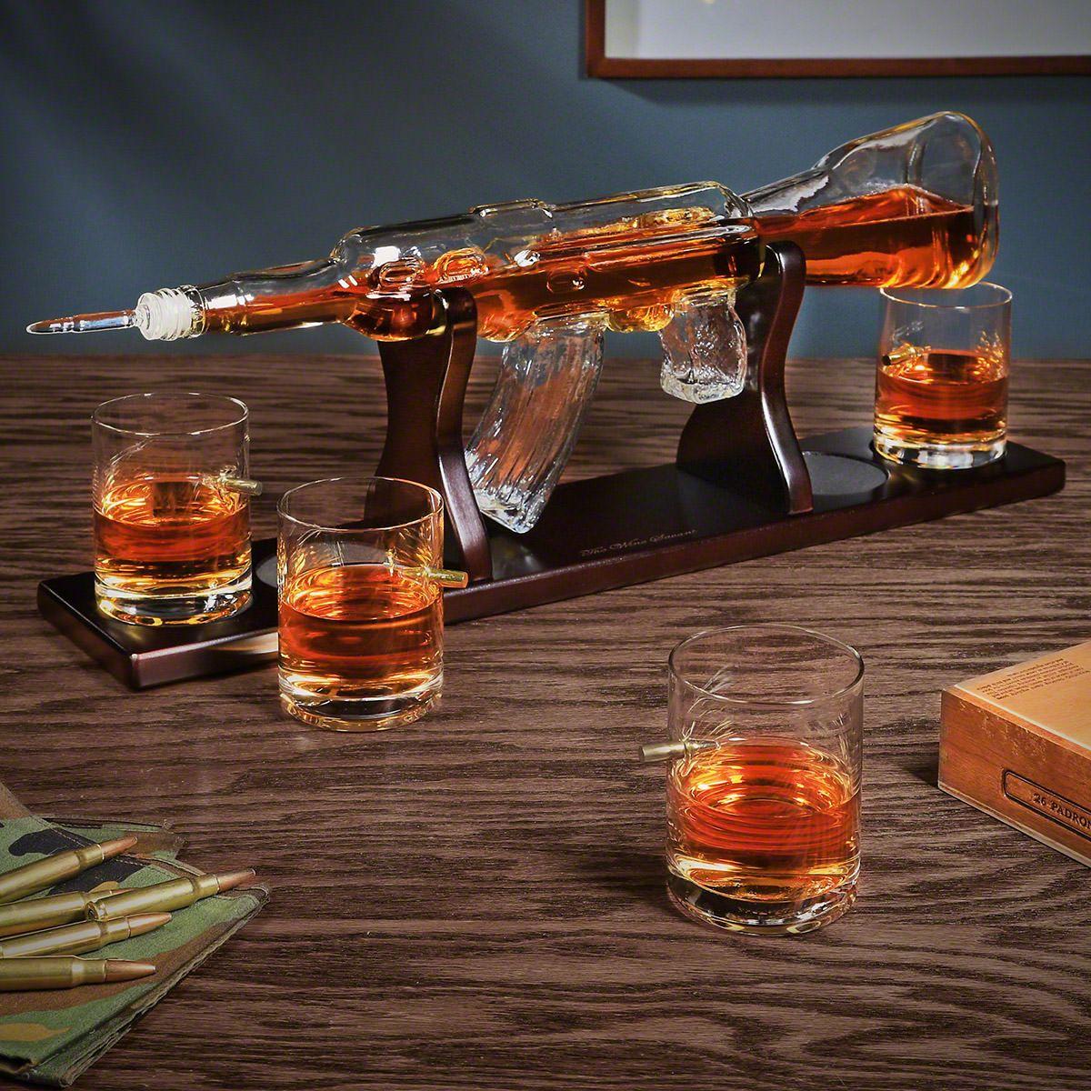 On Target Rifle Whiskey Gun Decanter Set