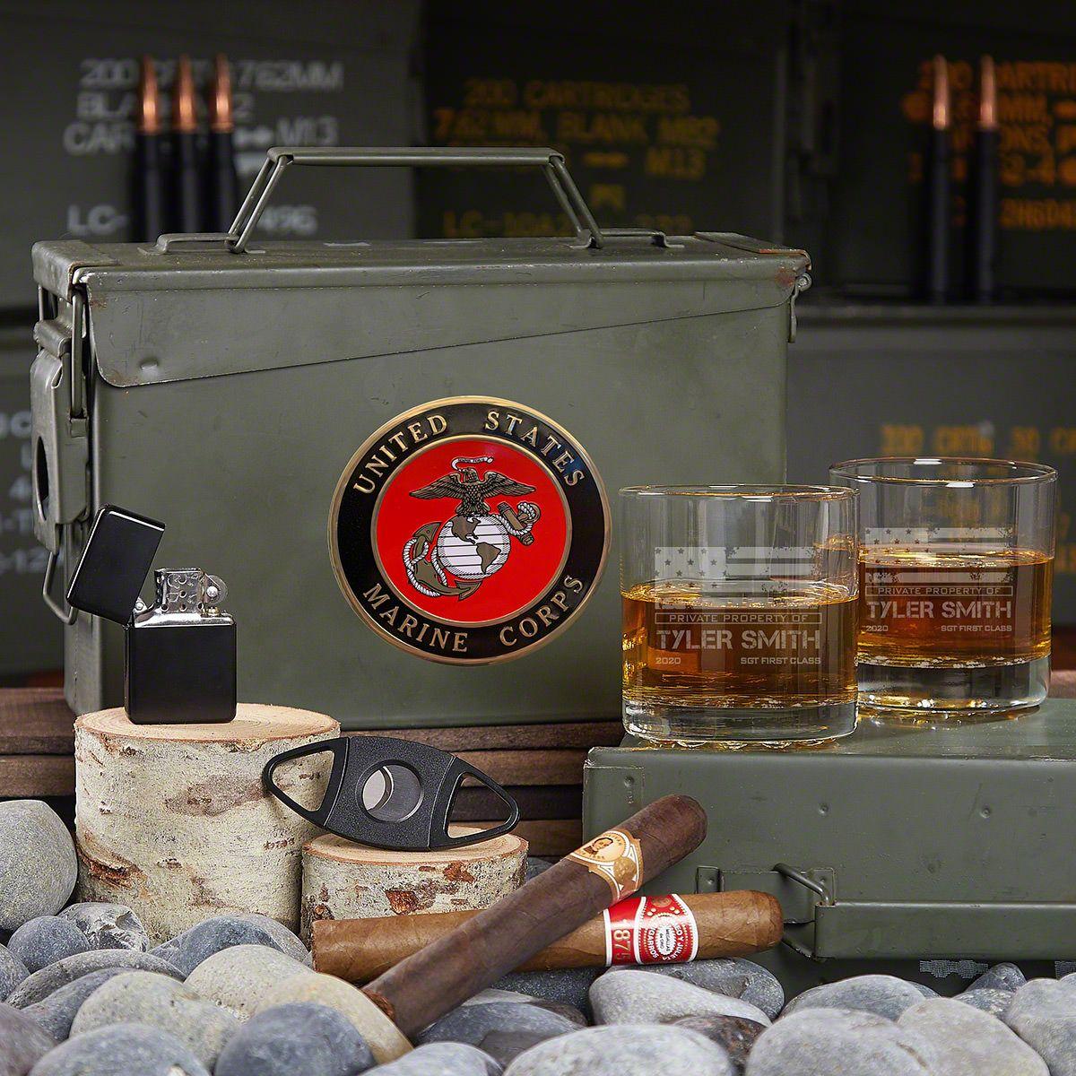 American Heroes Custom Marine 30 Cal Ammo Can Set Marine Corps Gifts
