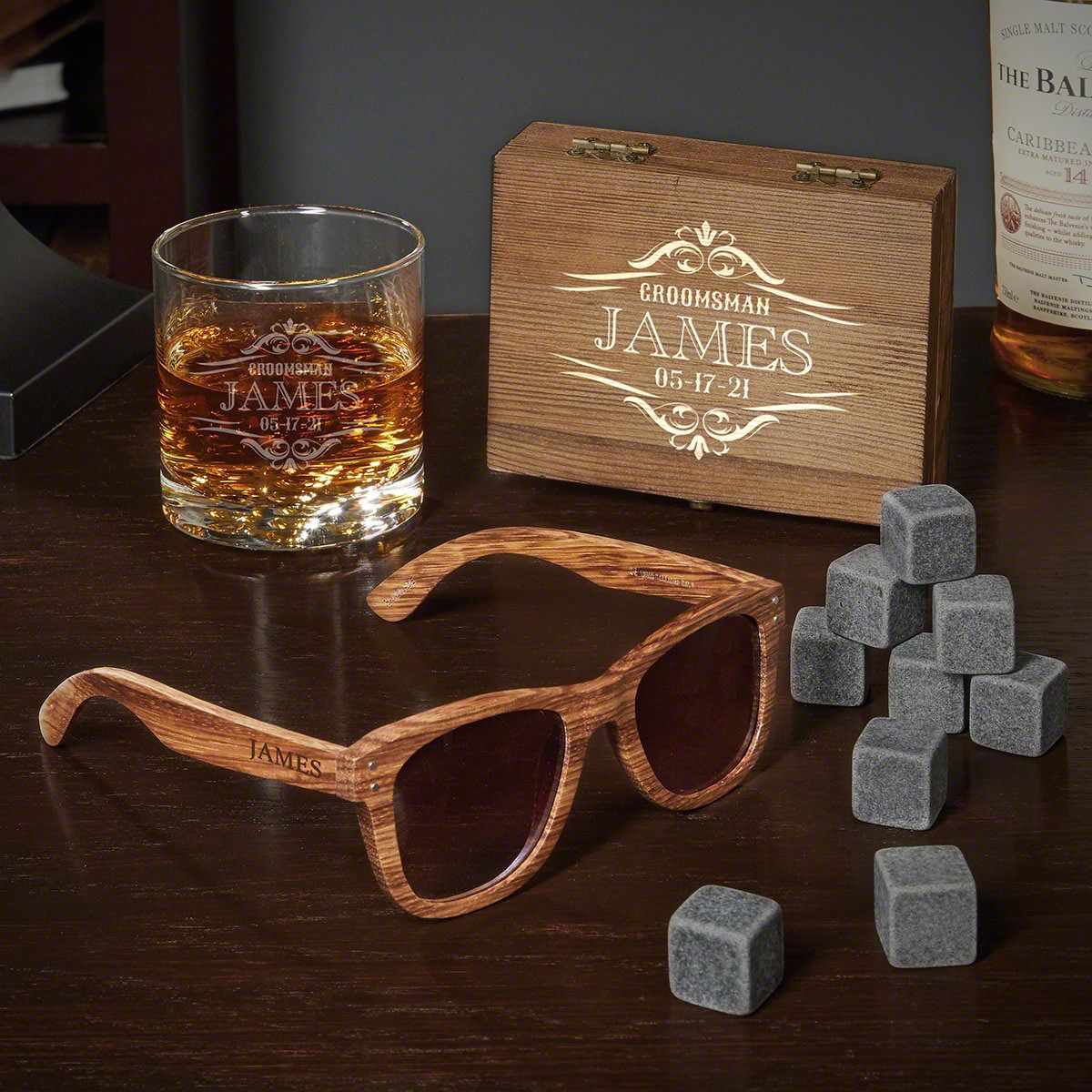 Wilshire Buckman Glass and Whiskey Stone Box Set Engraved Gifts for Groomsmen