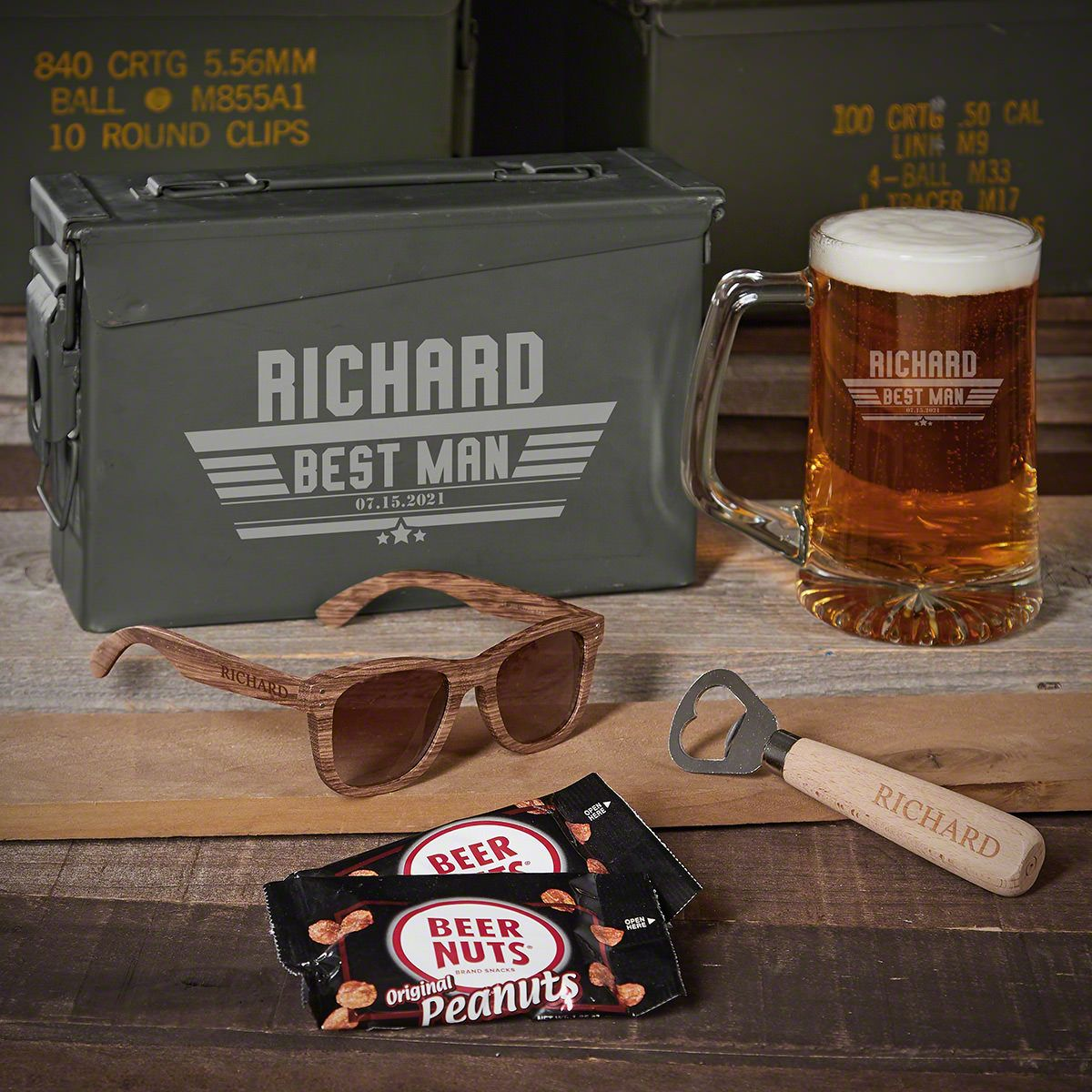 Maverick 30 Cal Beer Set Personalized Groomsmen Gifts