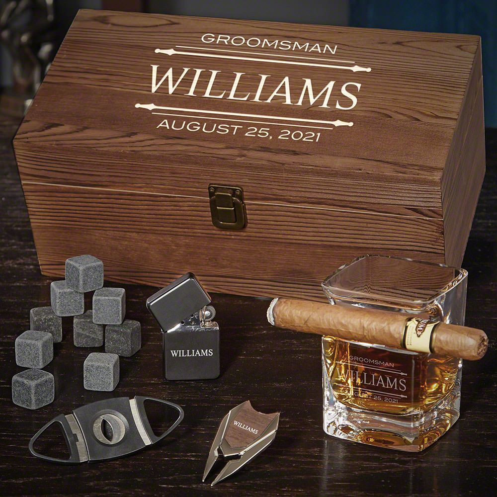 Stanford Engraved Whiskey and Cigar Gifts for Him
