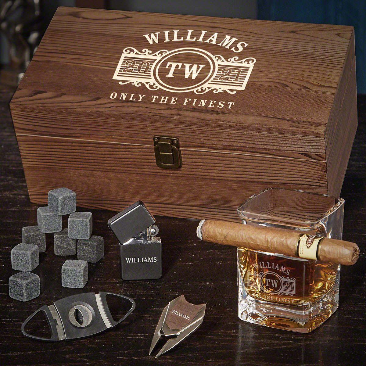 Marquee Cigar Glass Box Set Custom Whiskey Gift Set