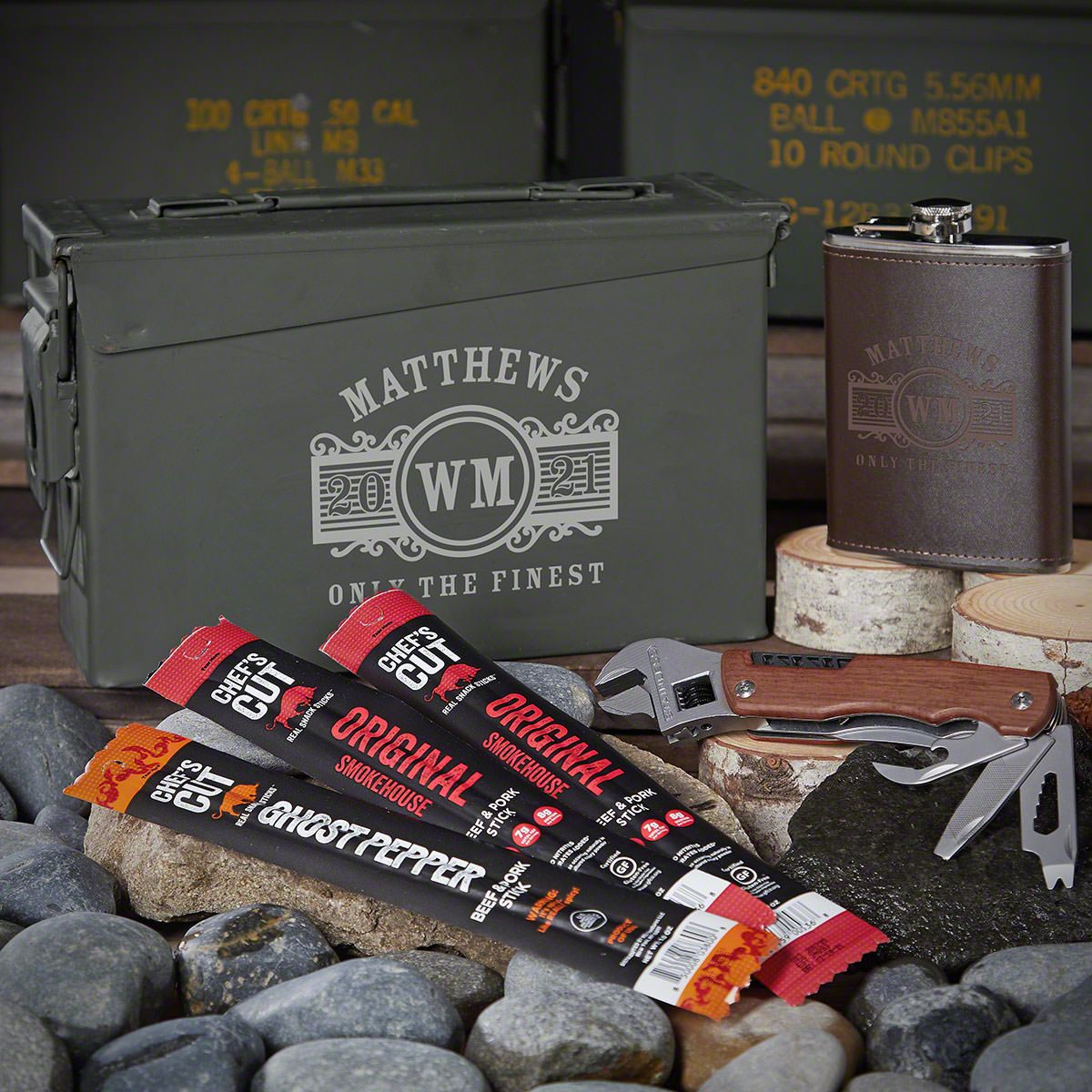 Marquee Personalized 30 Cal Ammo Can Set Gifts for Men